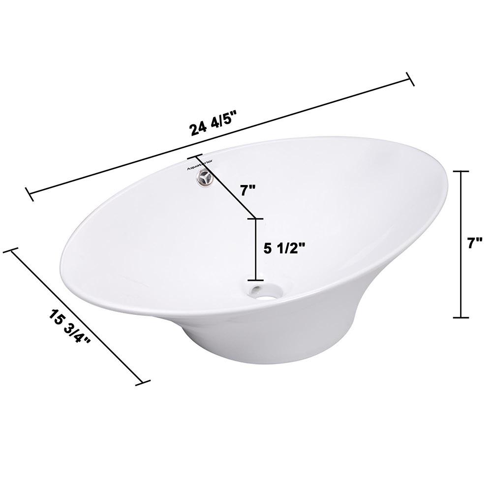 Bathroom-Porcelain-Ceramic-Vessel-Sink-Vanity-Basin-Overflow-Pop-up-Drain-White thumbnail 9