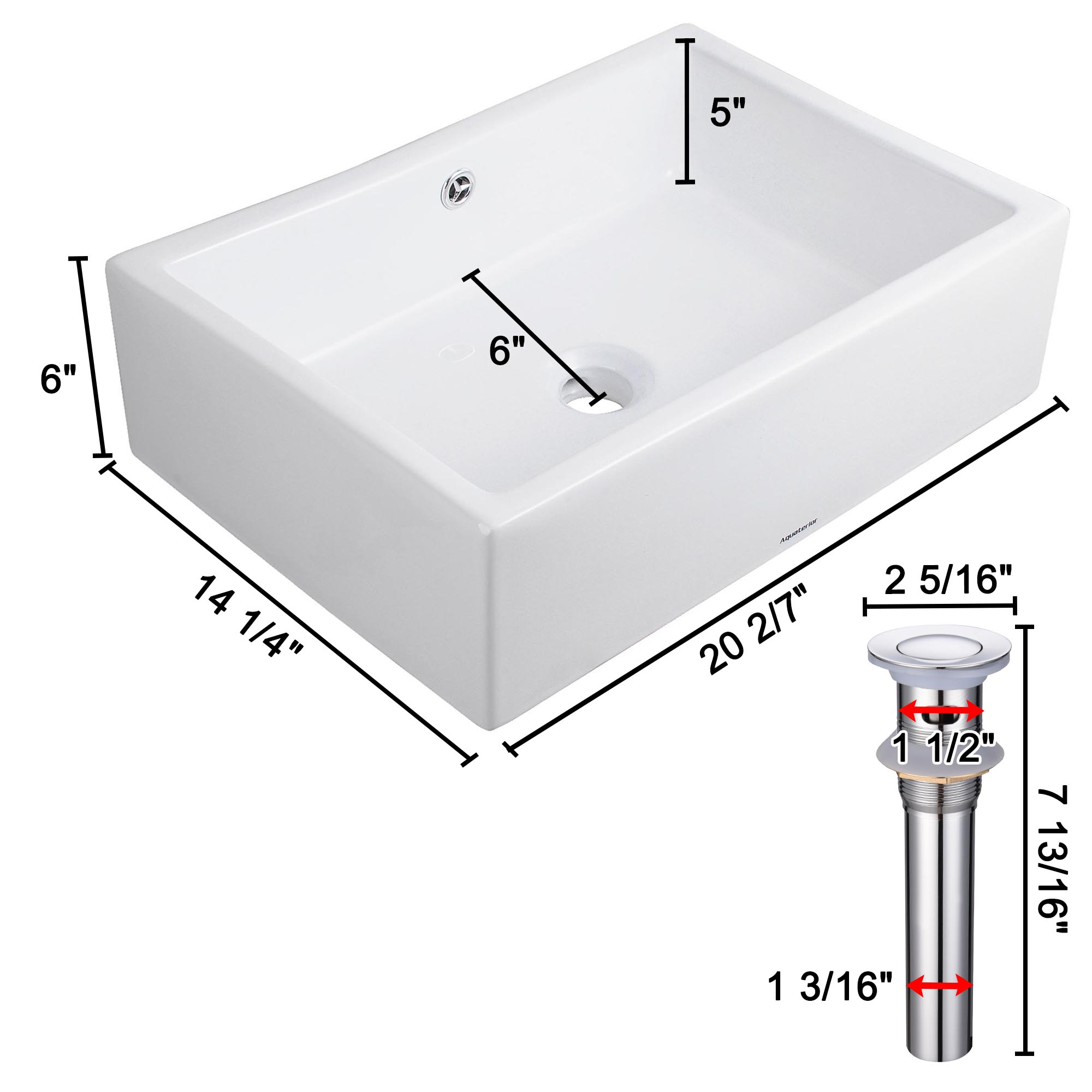 20-034-Rectangle-Bathroom-Vessel-Sink-Countertop-Porcelain-Basin-Pop-up-Drain-Kit thumbnail 21