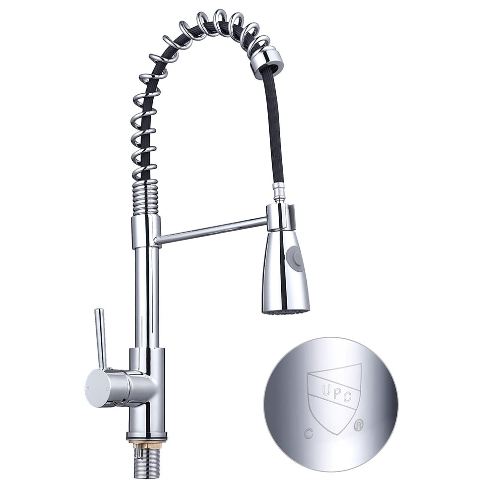 Details about Stainless Steel Kitchen Sink Faucet Pull Down Sprayer Spring  Mixer Taps 1 Handle