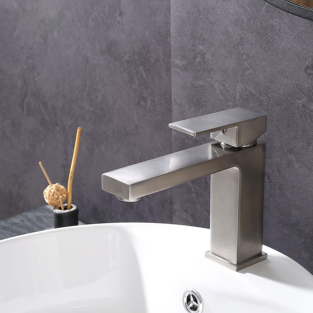 6 Bathroom Sink Faucet Vanity Basin Square Mixer Tap Single Handle Brushed Ebay
