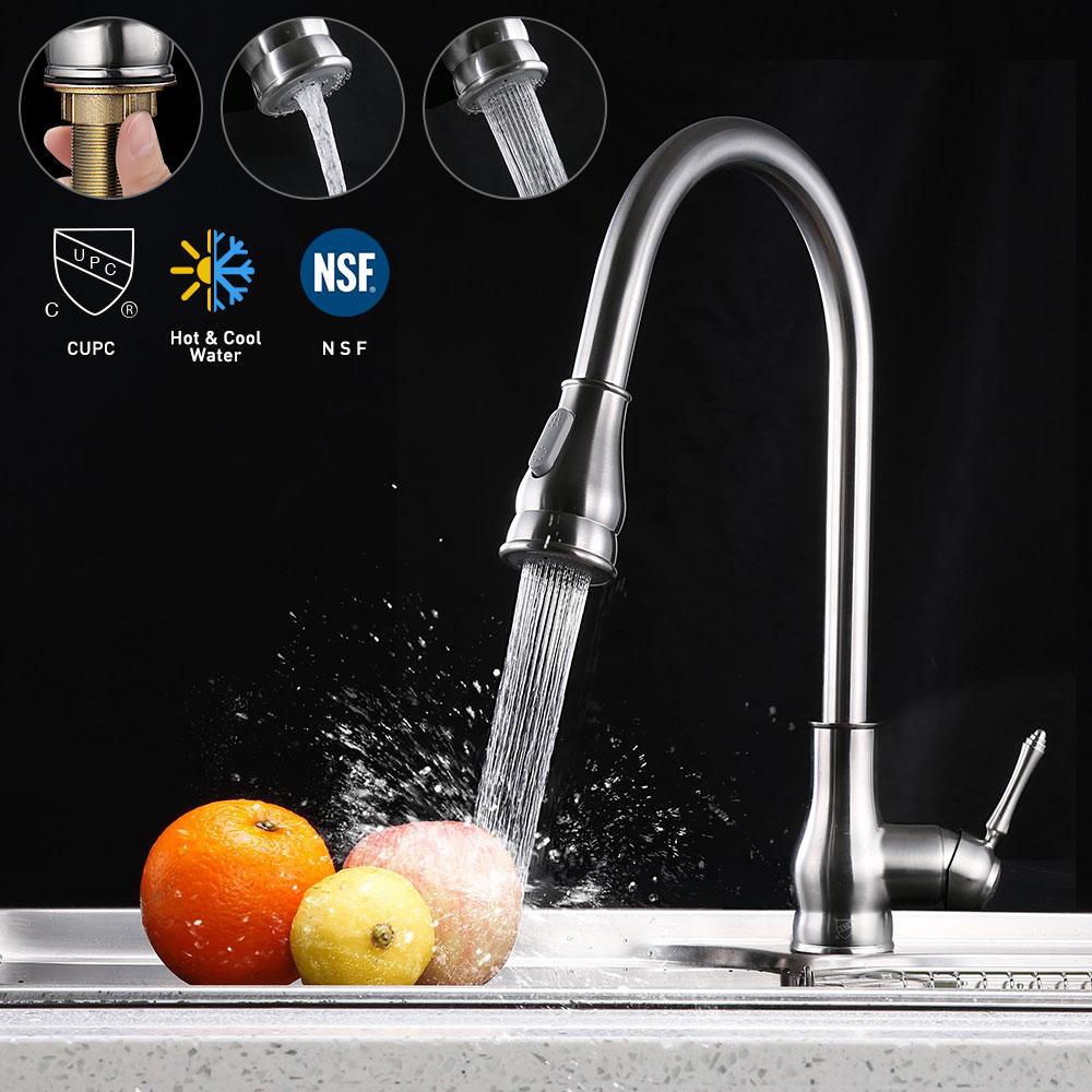 thumbnail 3 - Kitchen Sink Faucet Single Handle Pull Down Sprayer & Soap Dispenser Deck Mount