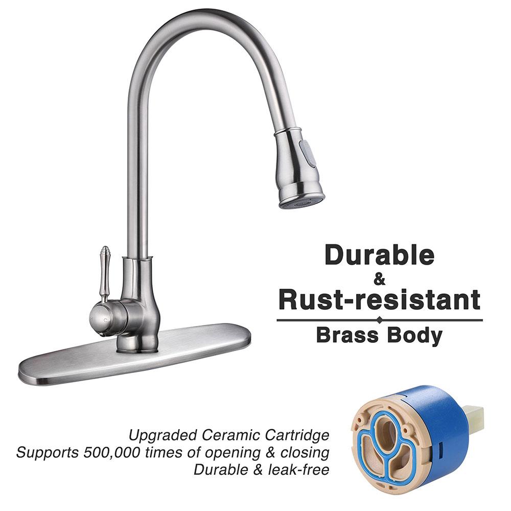 thumbnail 5 - Kitchen Sink Faucet Single Handle Pull Down Sprayer & Soap Dispenser Deck Mount
