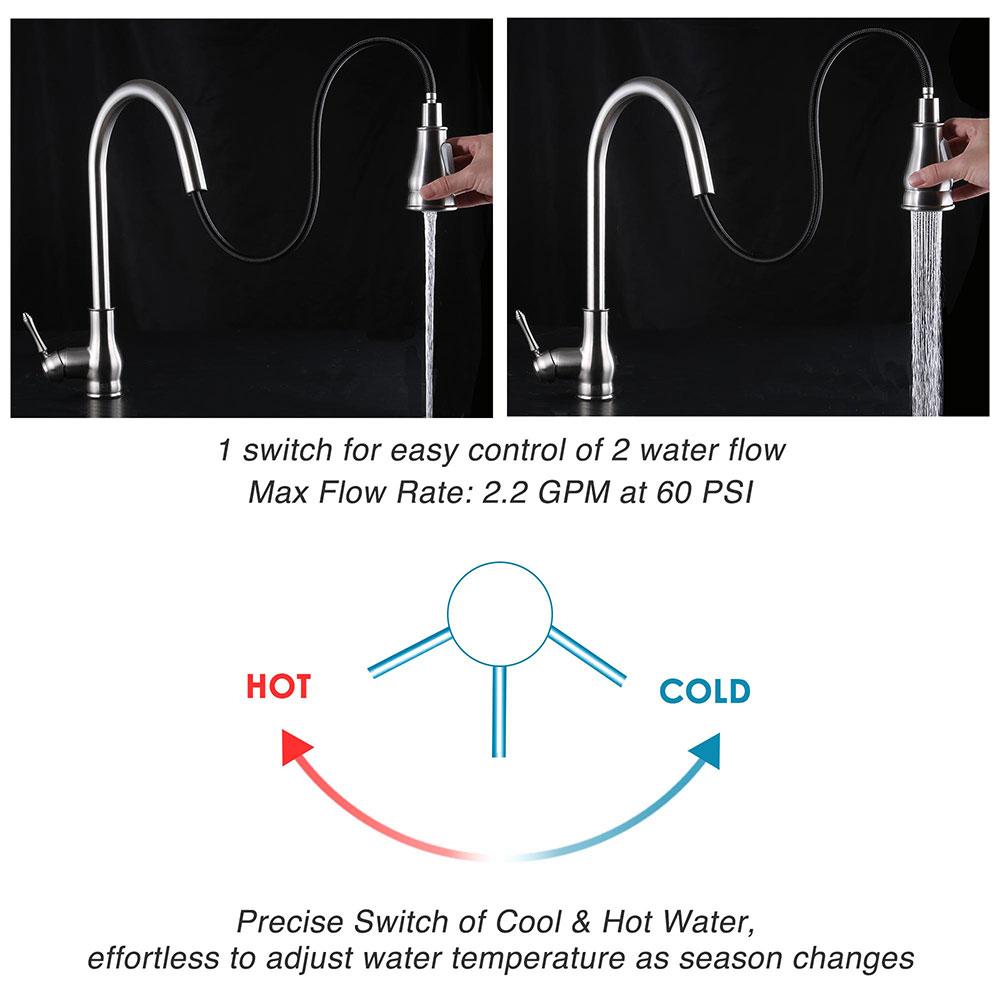 thumbnail 6 - Kitchen Sink Faucet Single Handle Pull Down Sprayer & Soap Dispenser Deck Mount