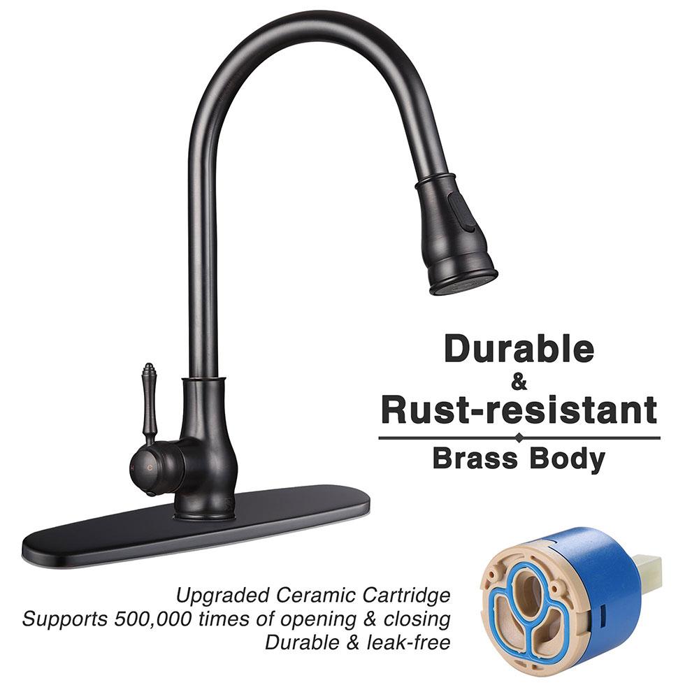 thumbnail 14 - Kitchen Sink Faucet Single Handle Pull Down Sprayer & Soap Dispenser Deck Mount