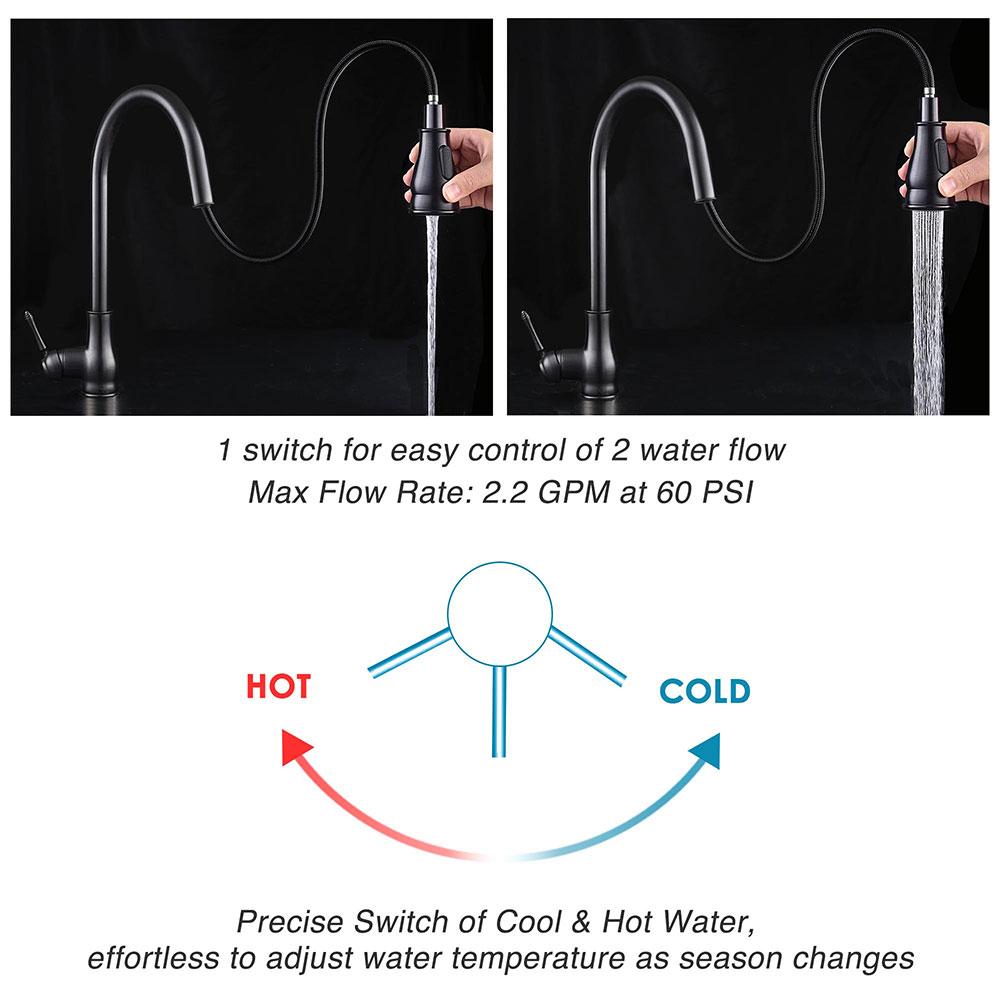 thumbnail 15 - Kitchen Sink Faucet Single Handle Pull Down Sprayer & Soap Dispenser Deck Mount