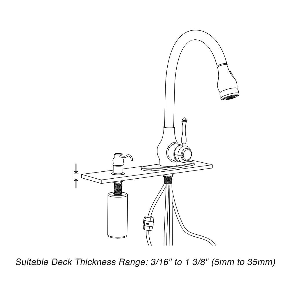 thumbnail 17 - Kitchen Sink Faucet Single Handle Pull Down Sprayer & Soap Dispenser Deck Mount