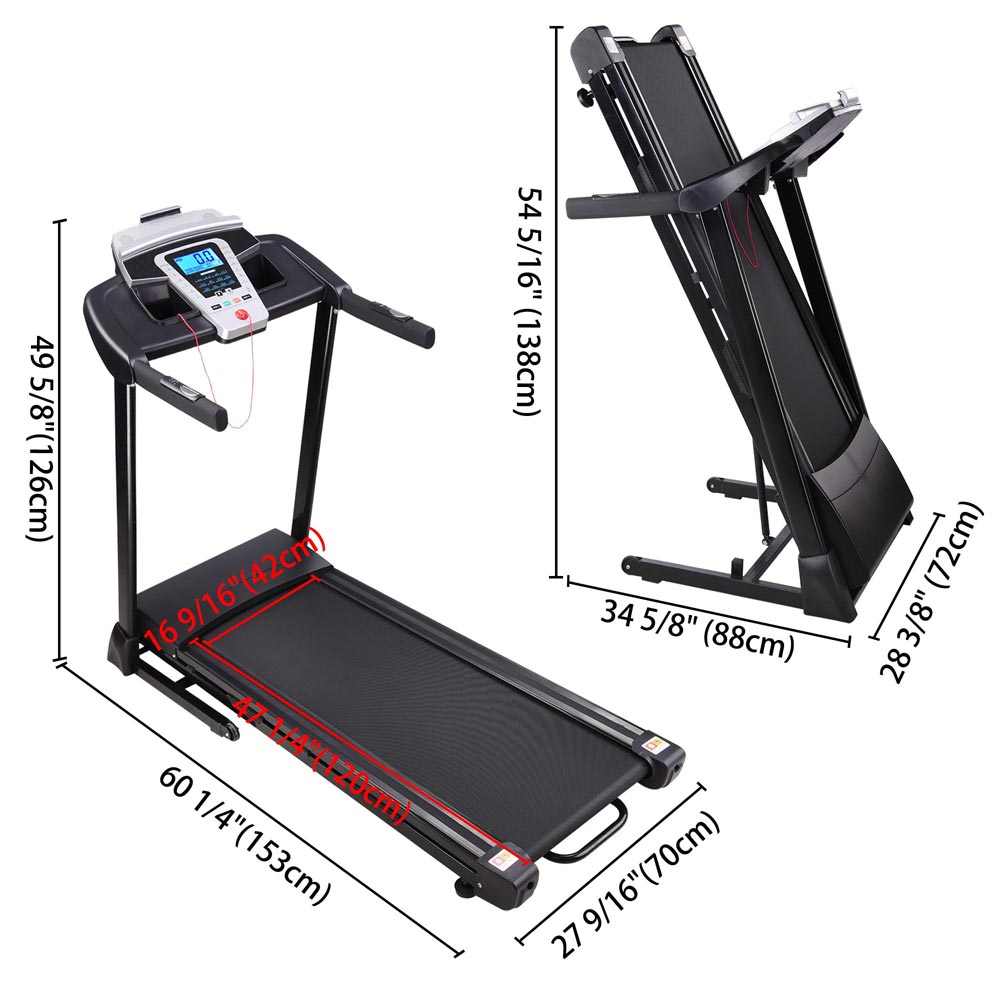 NEW 750w Motorized Electric Treadmill Running Machine height adjustable foldable