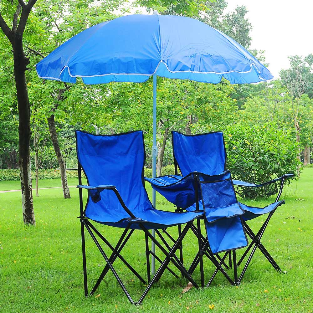 Folding Chair For 2 Person W Umbrella Carring Bag