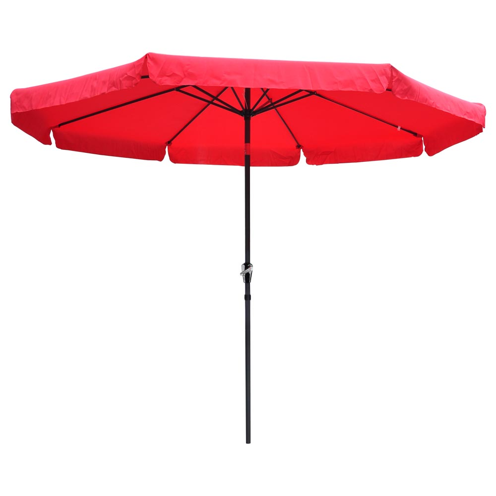 10ft Aluminum Outdoor Patio Umbrella W Valance Crank Tilt Sunshade