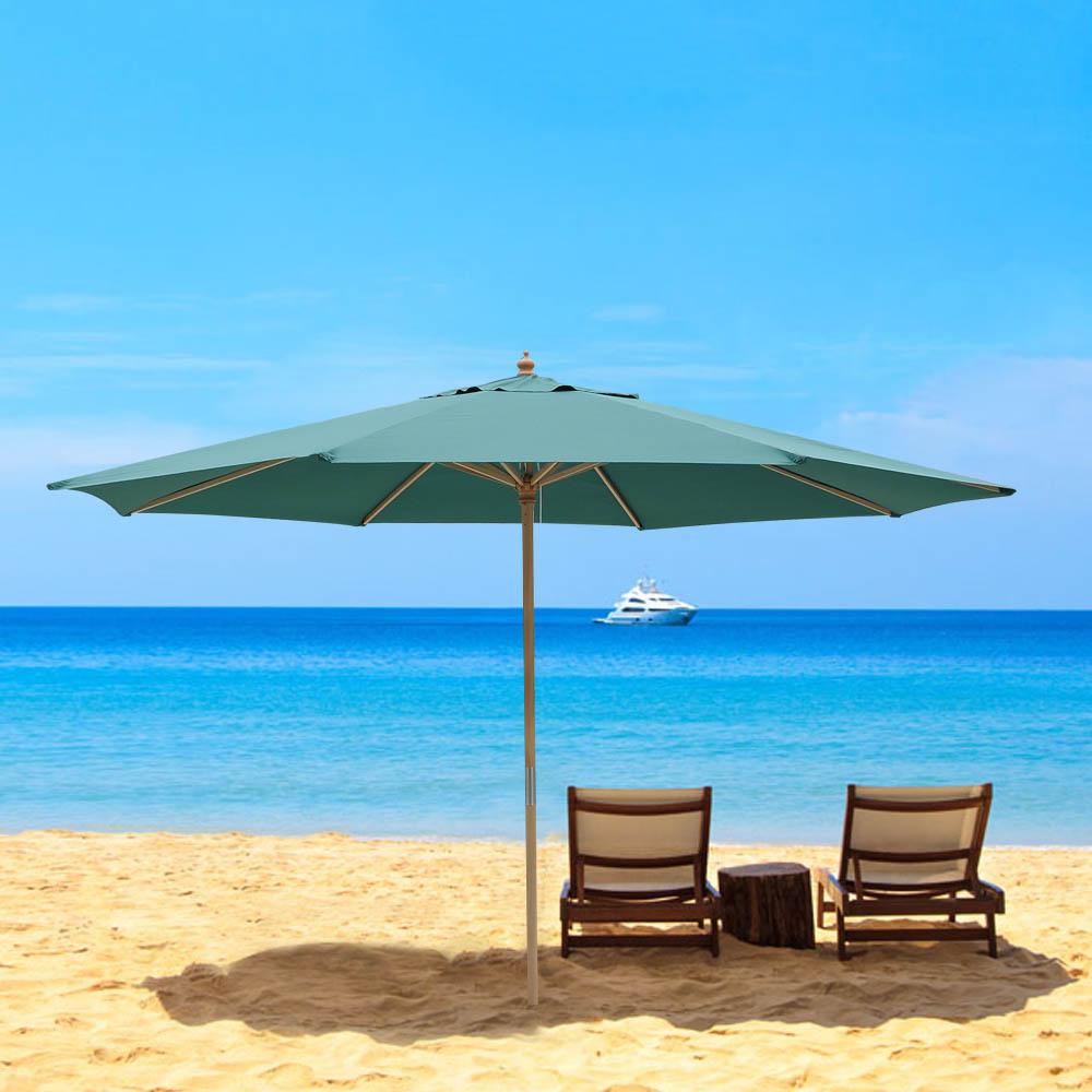 Beach Umbrella: 8' 9' 13' Outdoor Patio Wood Umbrella Wooden Pole Market