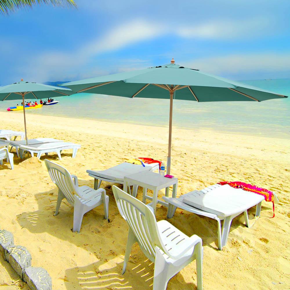 8-039-9-039-13-039-Outdoor-Patio-Wood-Umbrella-Wooden-Pole-Market-Beach-Garden-Sun-Shade thumbnail 23
