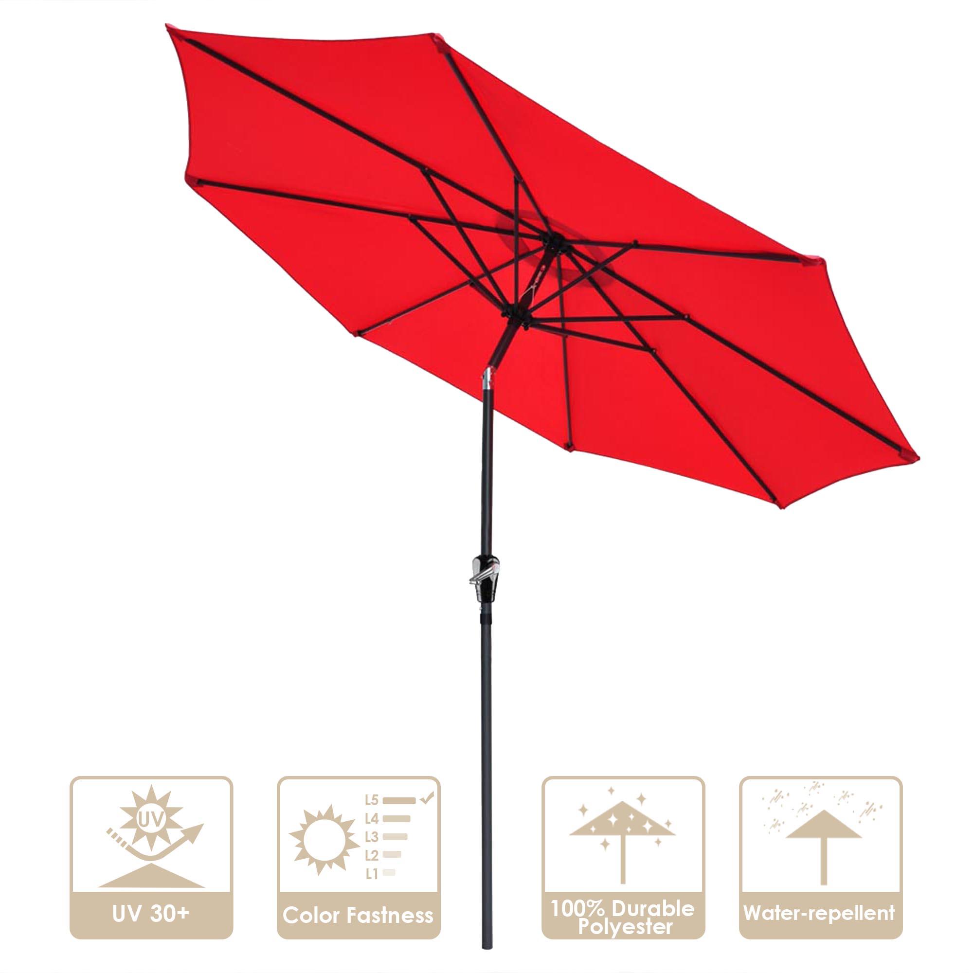 thumbnail 89 - 9' Outdoor Umbrella Patio 8 Ribs Market Garden Crank Tilt Beach Sunshade Parasol