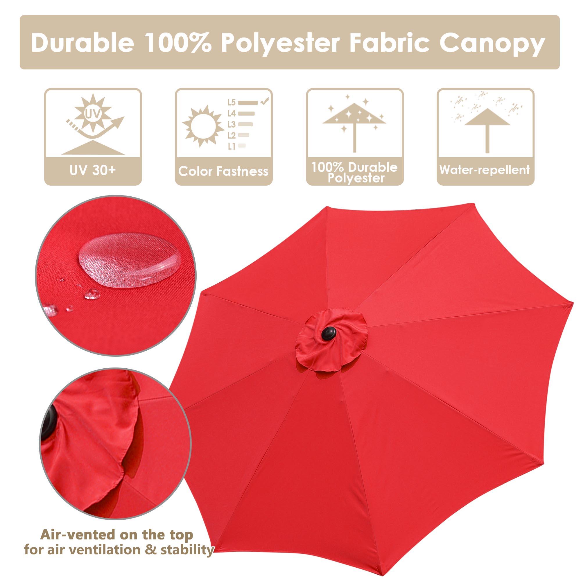 thumbnail 90 - 9' Outdoor Umbrella Patio 8 Ribs Market Garden Crank Tilt Beach Sunshade Parasol