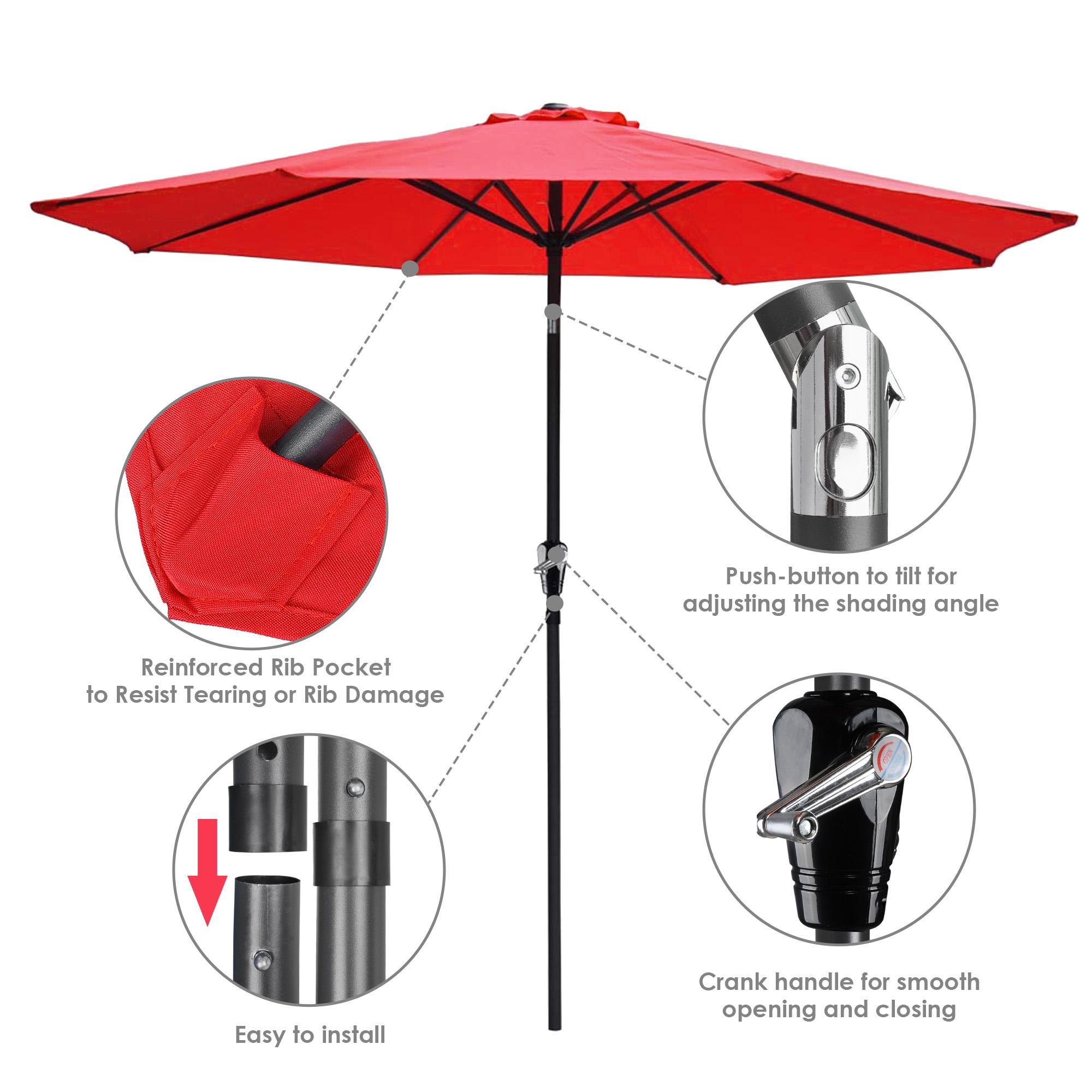 thumbnail 91 - 9' Outdoor Umbrella Patio 8 Ribs Market Garden Crank Tilt Beach Sunshade Parasol