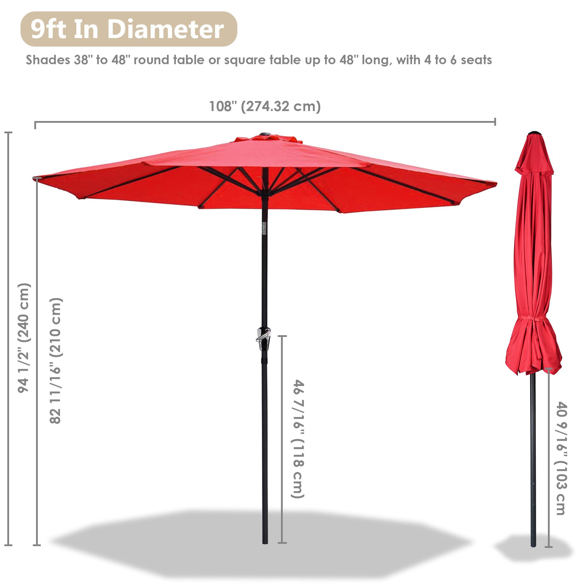 thumbnail 92 - 9' Outdoor Umbrella Patio 8 Ribs Market Garden Crank Tilt Beach Sunshade Parasol