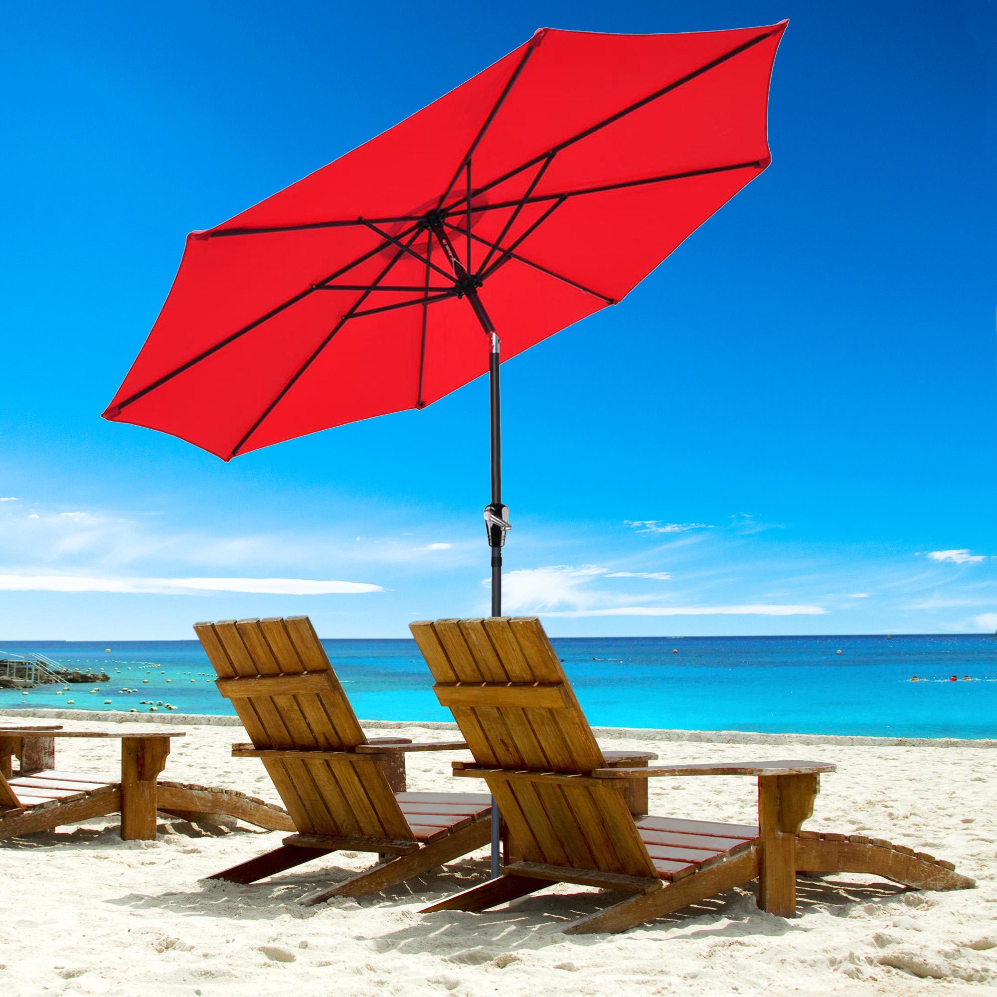 thumbnail 87 - 9' Outdoor Umbrella Patio 8 Ribs Market Garden Crank Tilt Beach Sunshade Parasol