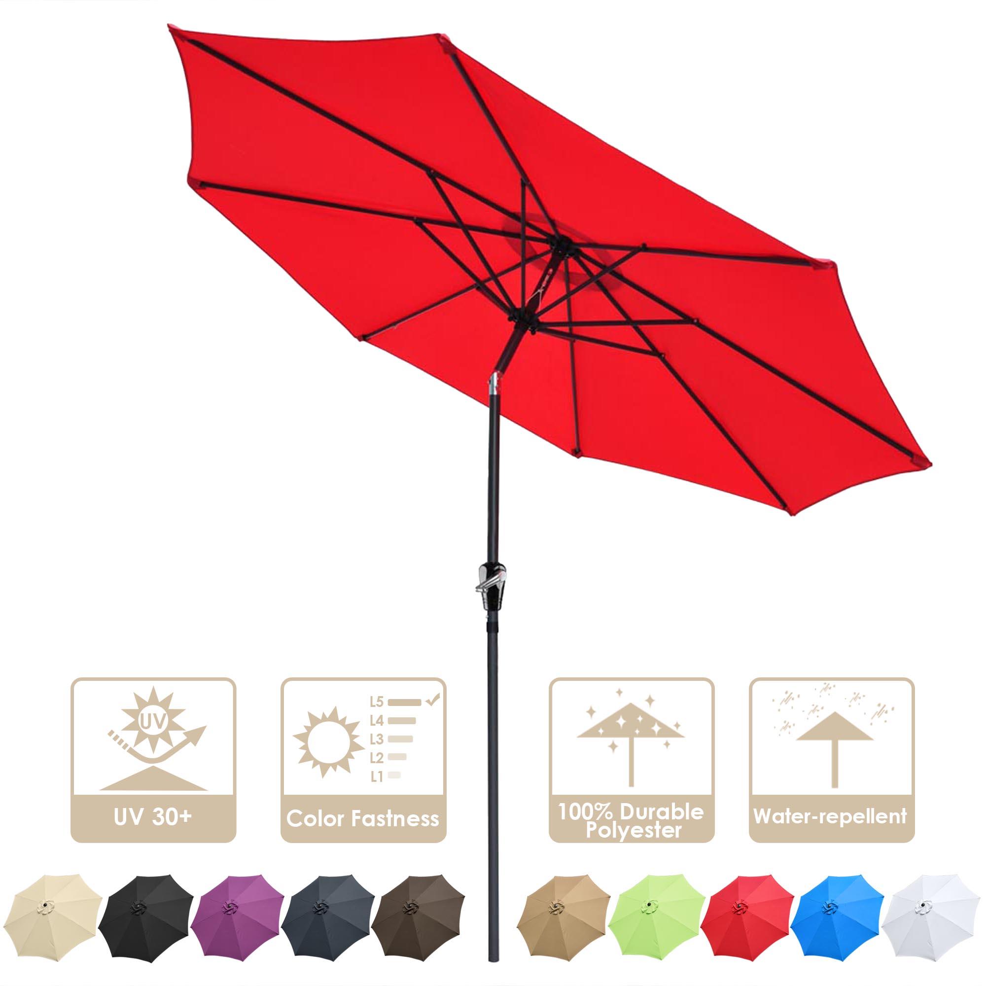 thumbnail 95 - 9' Outdoor Umbrella Patio 8 Ribs Market Garden Crank Tilt Beach Sunshade Parasol