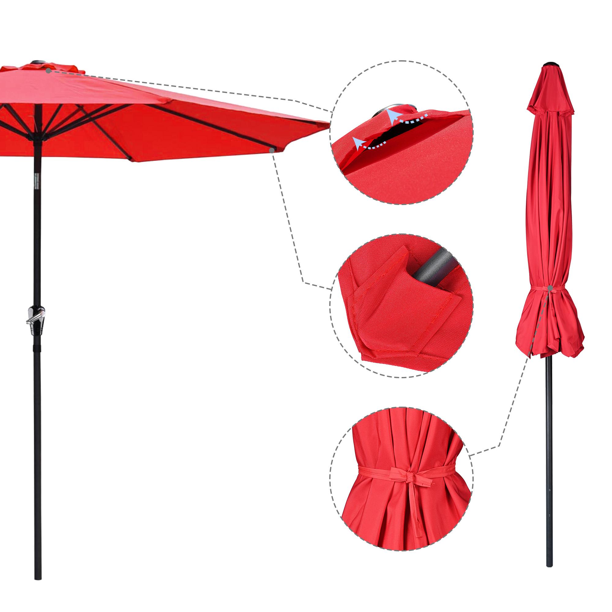 thumbnail 96 - 9' Outdoor Umbrella Patio 8 Ribs Market Garden Crank Tilt Beach Sunshade Parasol