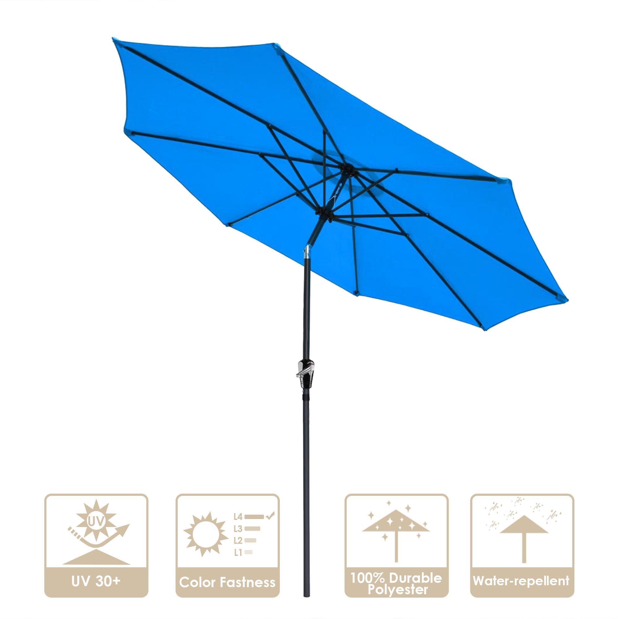 thumbnail 48 - 9' Outdoor Umbrella Patio 8 Ribs Market Garden Crank Tilt Beach Sunshade Parasol