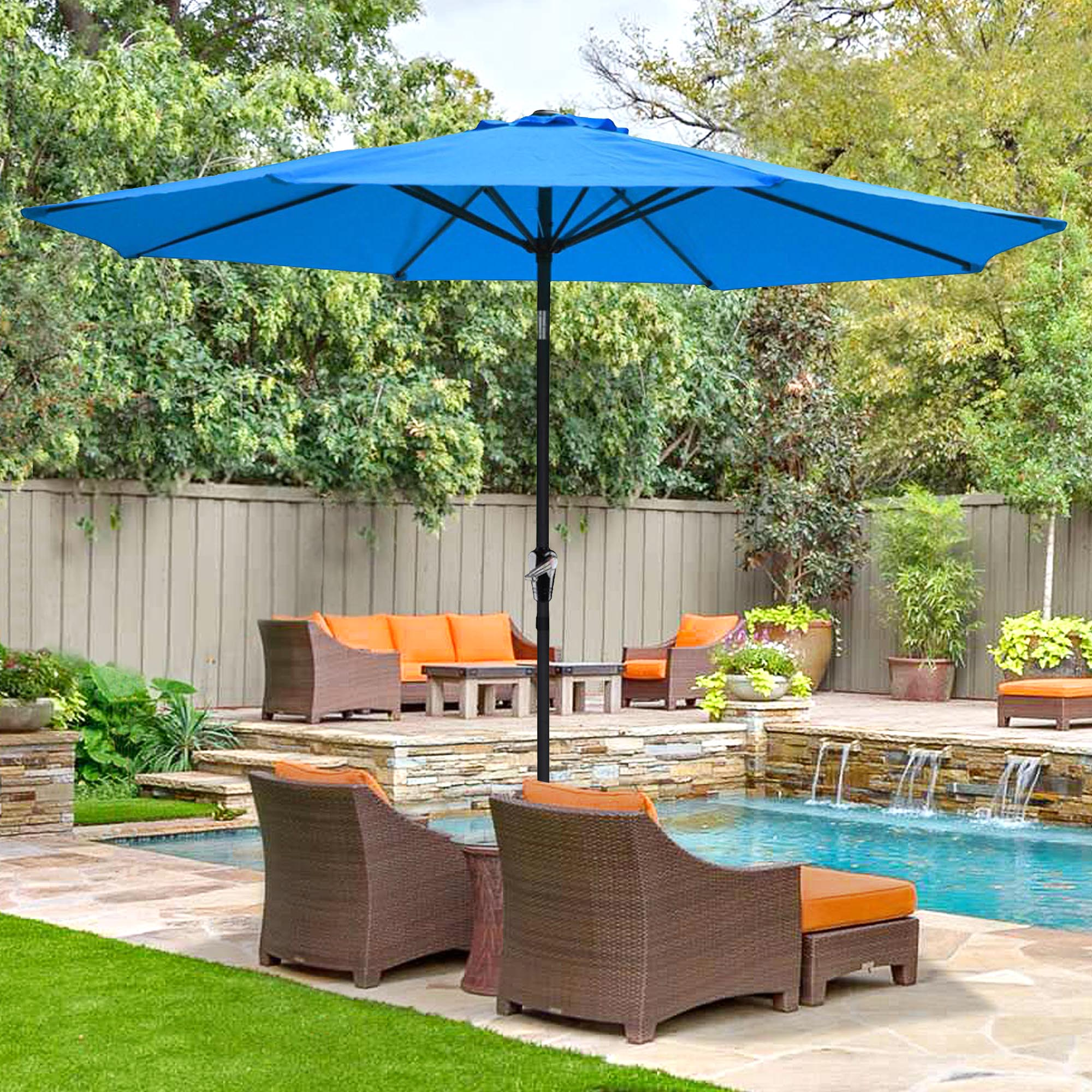 thumbnail 45 - 9' Outdoor Umbrella Patio 8 Ribs Market Garden Crank Tilt Beach Sunshade Parasol