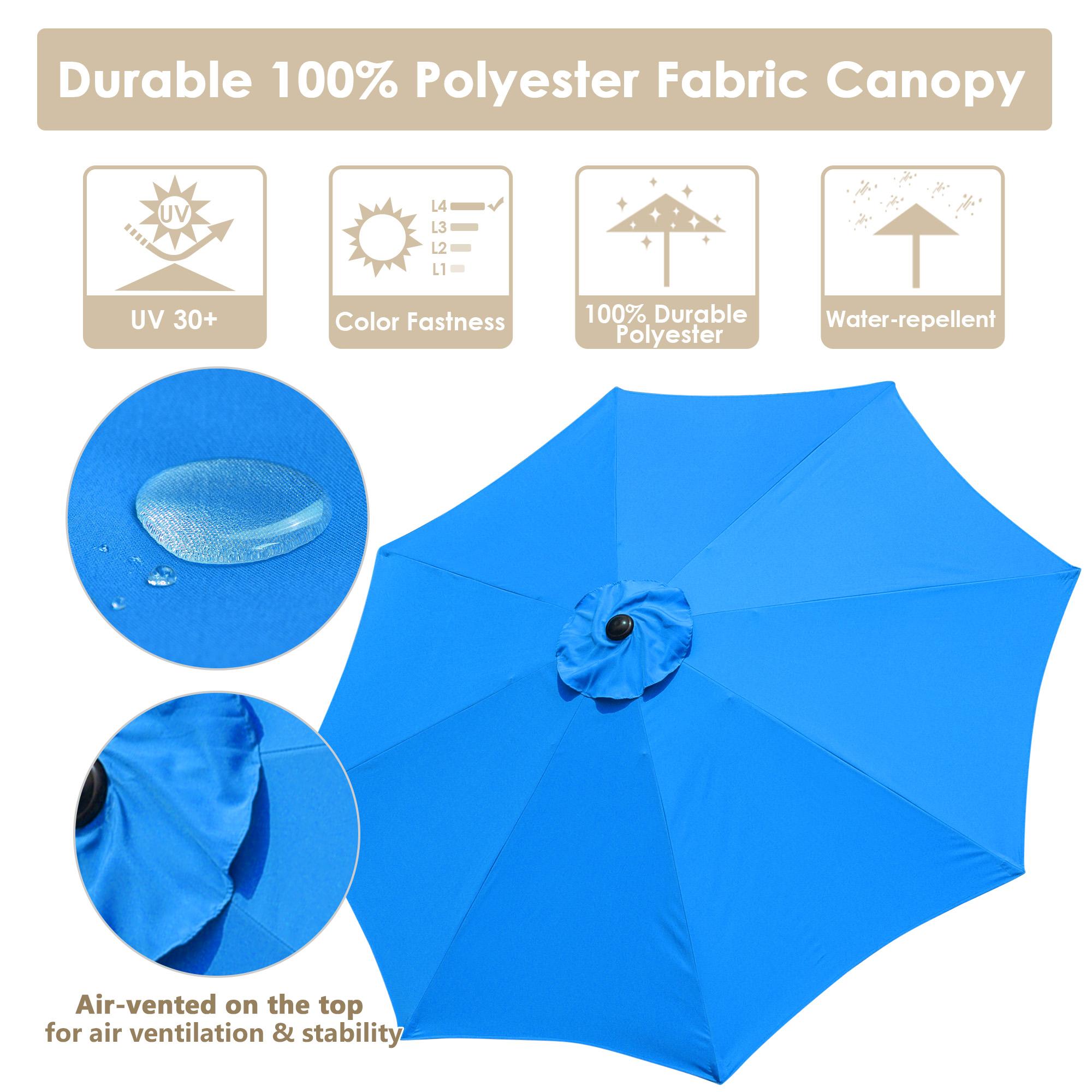 thumbnail 50 - 9' Outdoor Umbrella Patio 8 Ribs Market Garden Crank Tilt Beach Sunshade Parasol