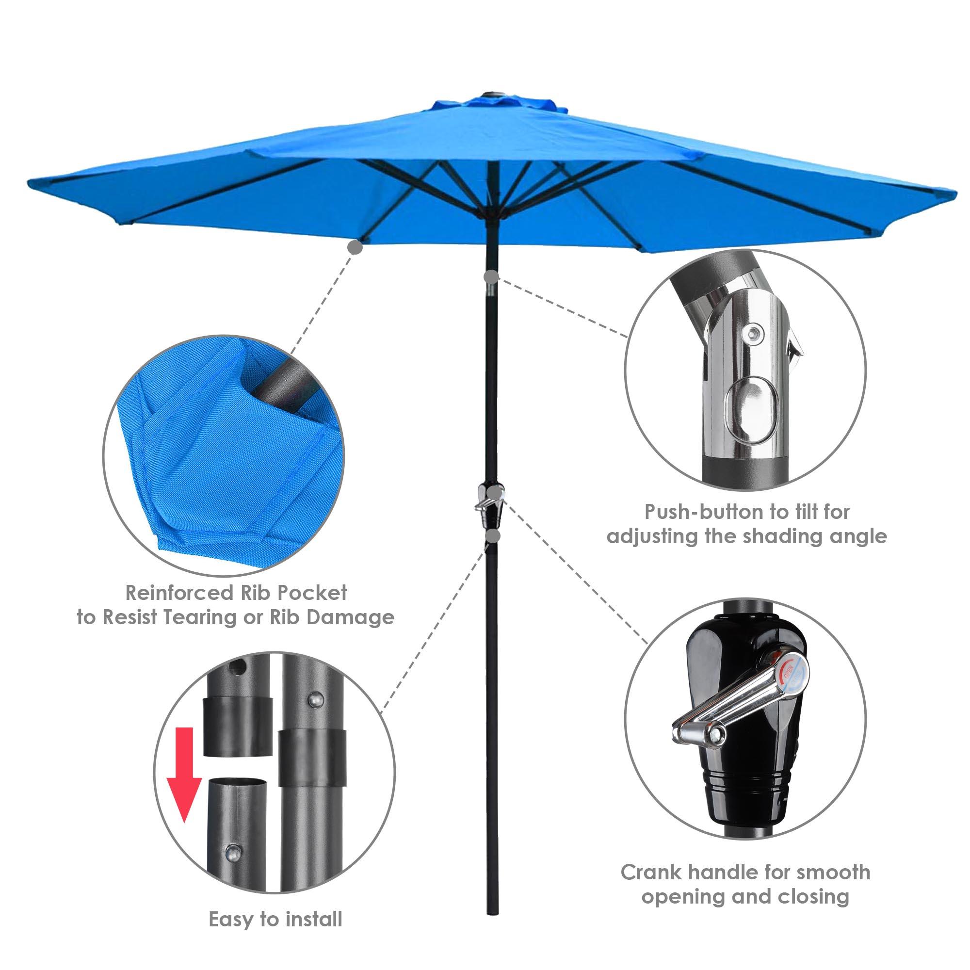 thumbnail 52 - 9' Outdoor Umbrella Patio 8 Ribs Market Garden Crank Tilt Beach Sunshade Parasol