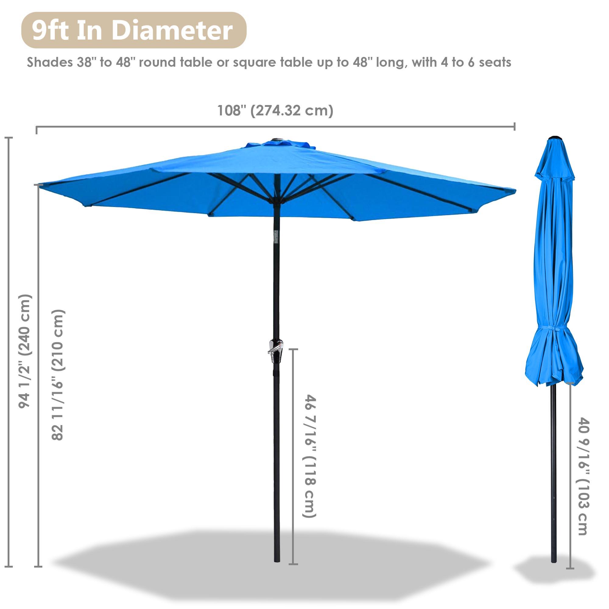 thumbnail 53 - 9' Outdoor Umbrella Patio 8 Ribs Market Garden Crank Tilt Beach Sunshade Parasol