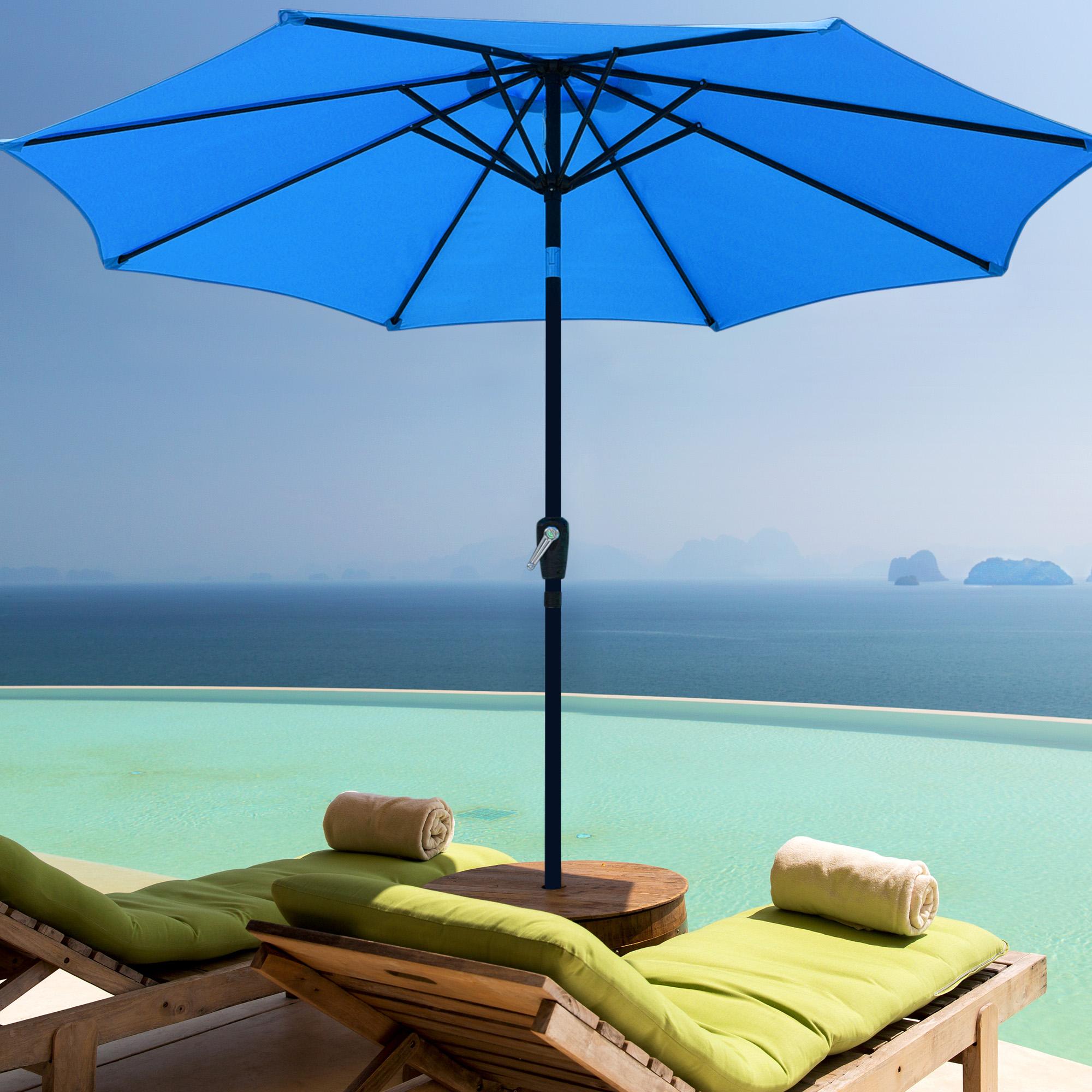 thumbnail 47 - 9' Outdoor Umbrella Patio 8 Ribs Market Garden Crank Tilt Beach Sunshade Parasol