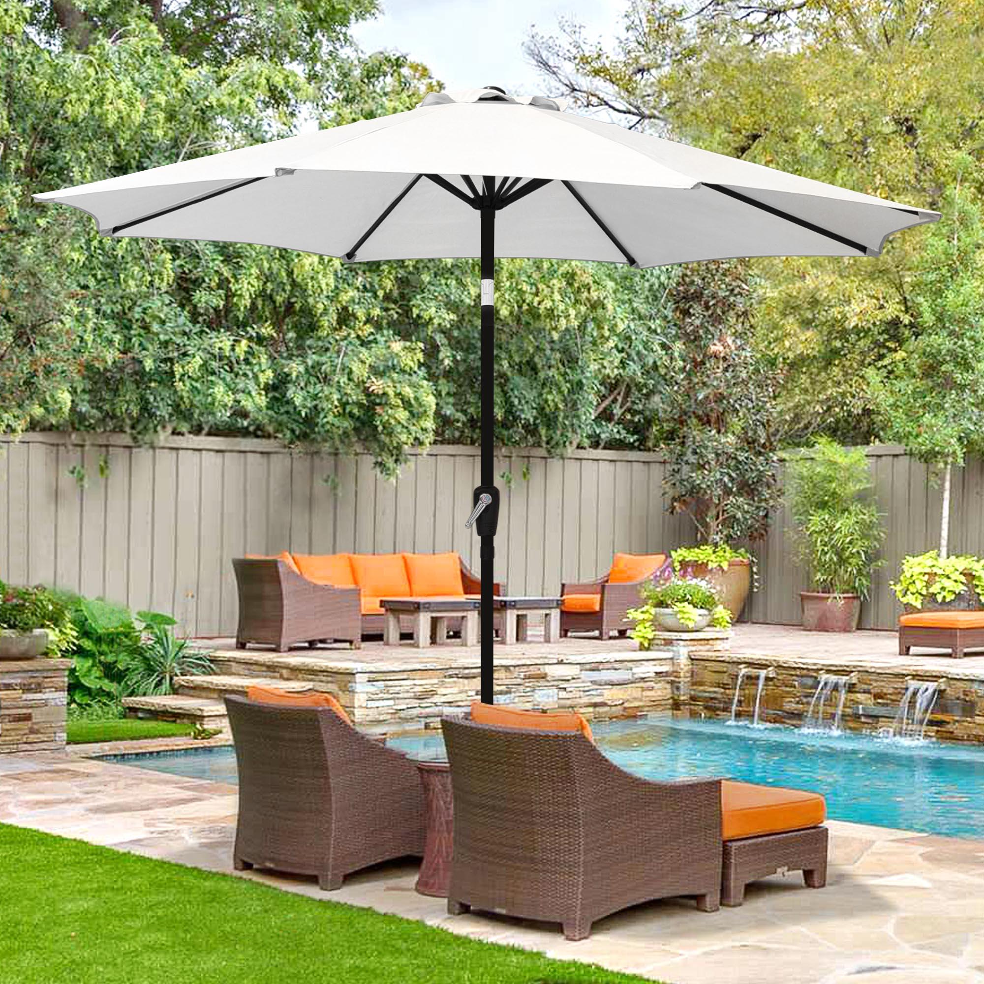 thumbnail 113 - 9' Outdoor Umbrella Patio 8 Ribs Market Garden Crank Tilt Beach Sunshade Parasol