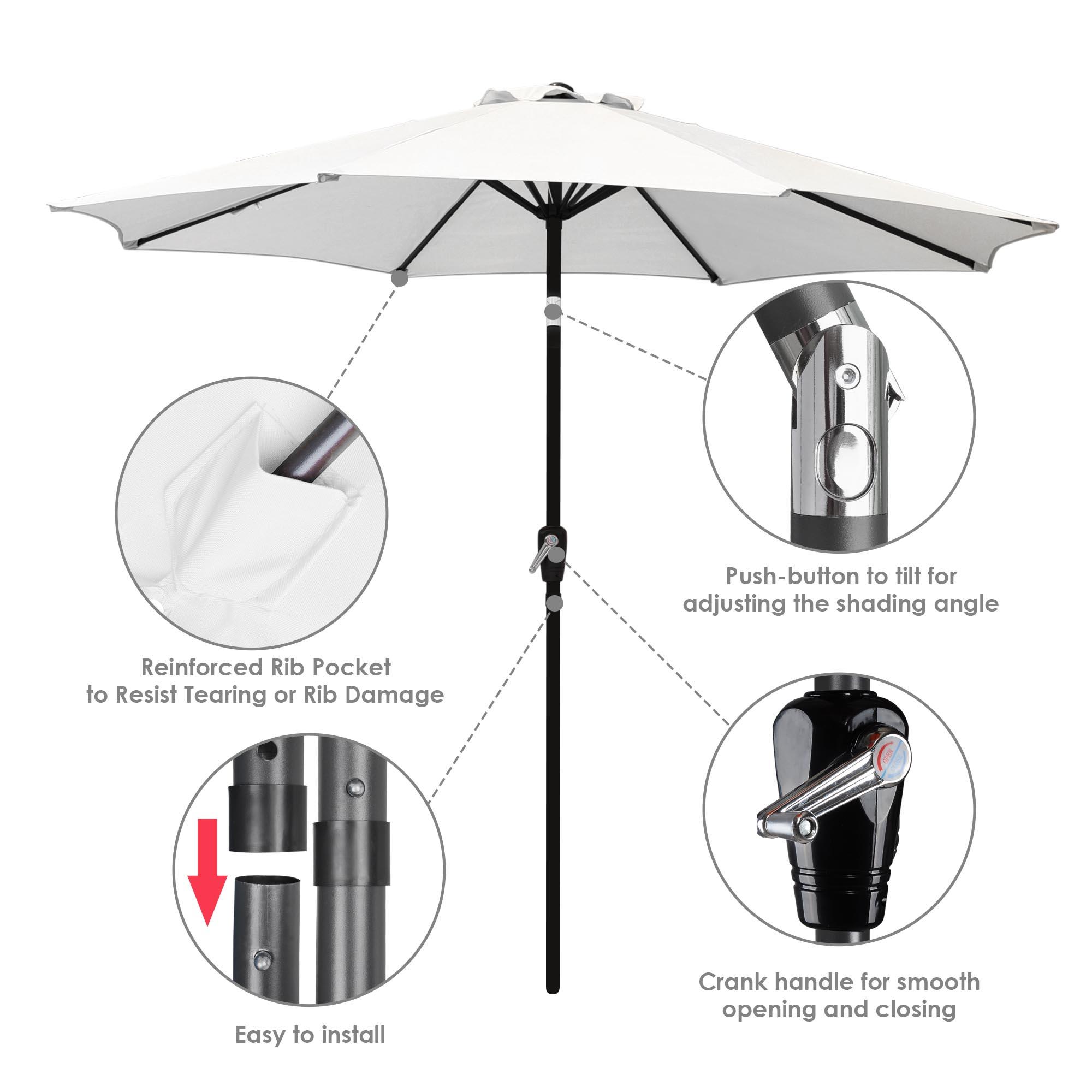 thumbnail 115 - 9' Outdoor Umbrella Patio 8 Ribs Market Garden Crank Tilt Beach Sunshade Parasol