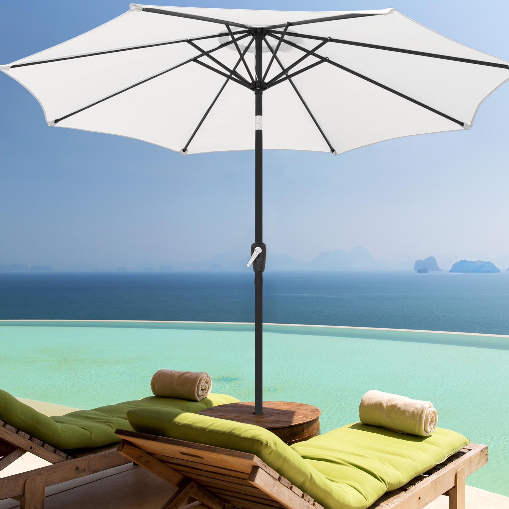thumbnail 110 - 9' Outdoor Umbrella Patio 8 Ribs Market Garden Crank Tilt Beach Sunshade Parasol