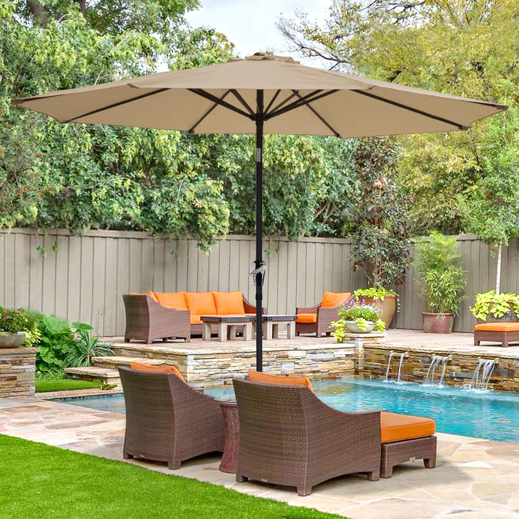 thumbnail 98 - 9' Outdoor Umbrella Patio 8 Ribs Market Garden Crank Tilt Beach Sunshade Parasol