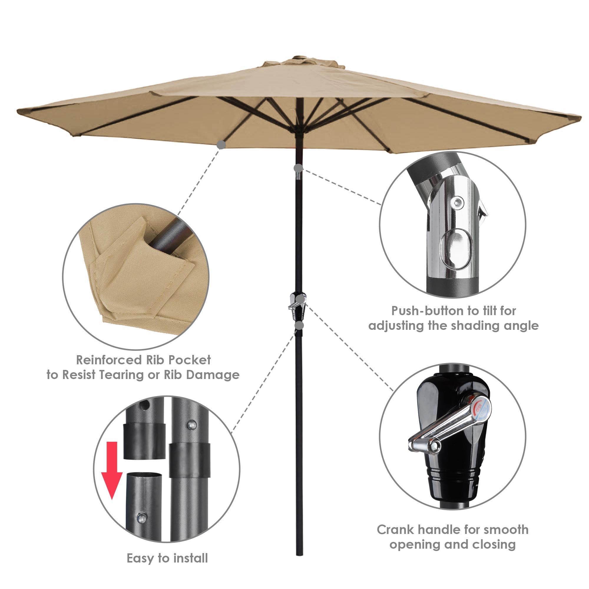 thumbnail 100 - 9' Outdoor Umbrella Patio 8 Ribs Market Garden Crank Tilt Beach Sunshade Parasol
