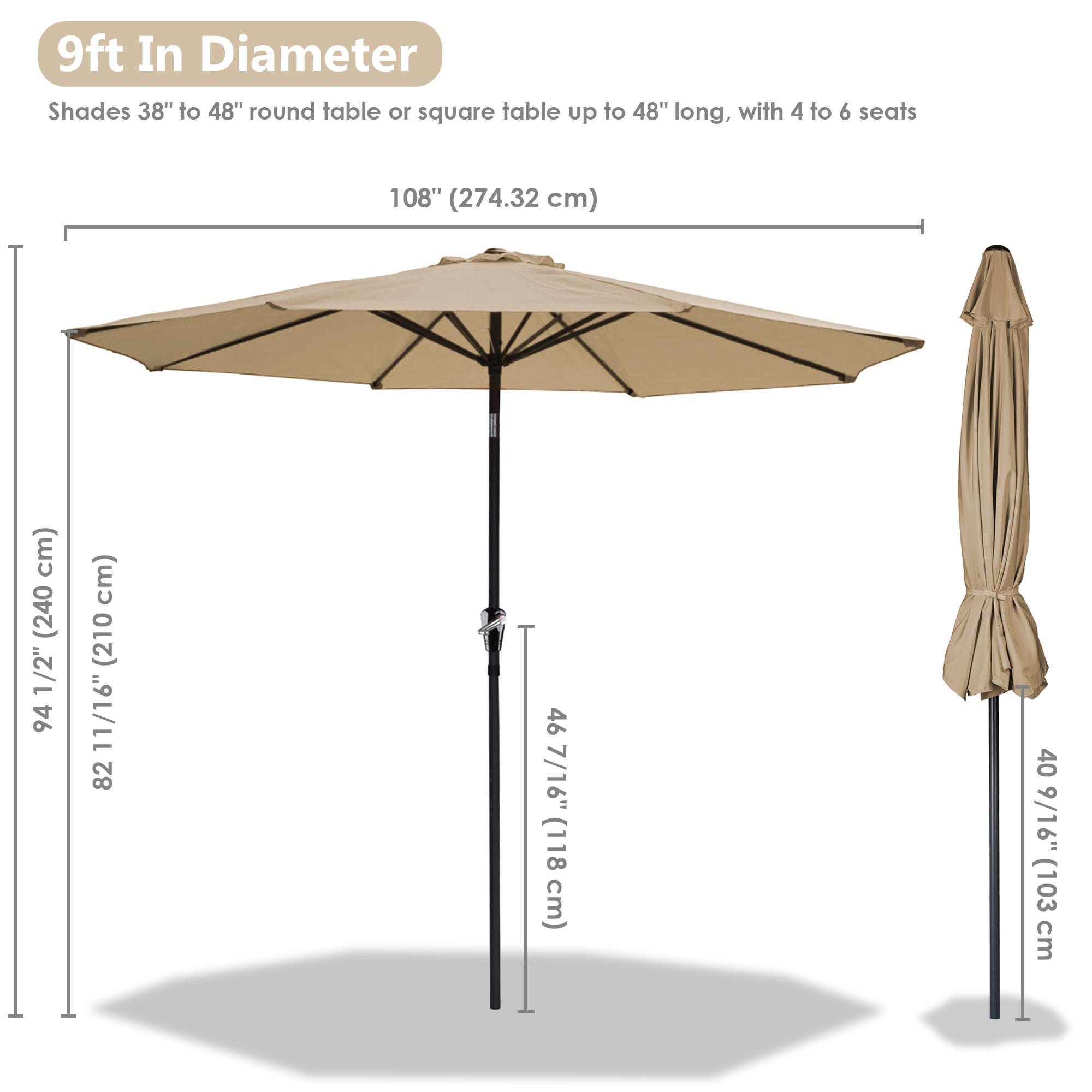 thumbnail 102 - 9' Outdoor Umbrella Patio 8 Ribs Market Garden Crank Tilt Beach Sunshade Parasol