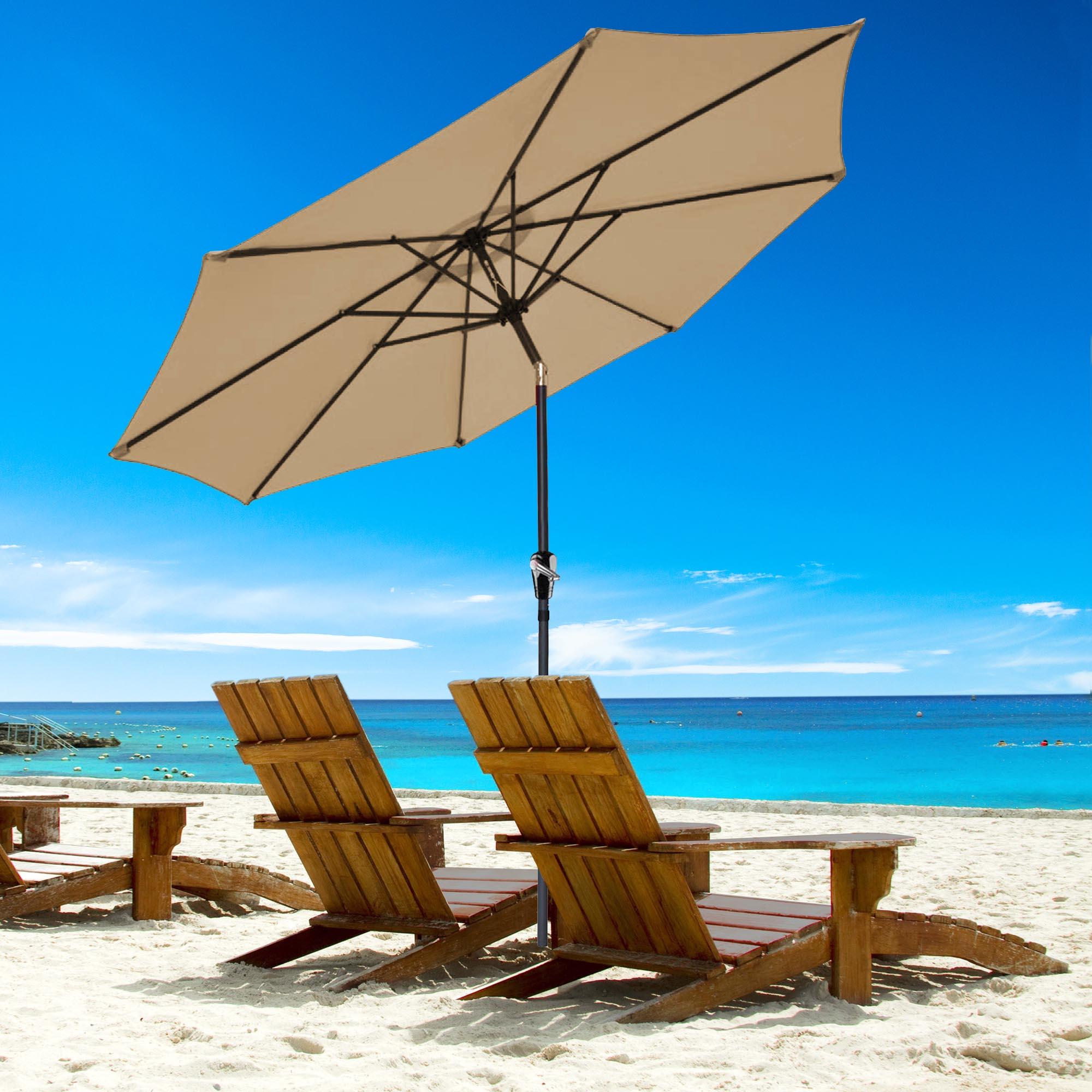 thumbnail 103 - 9' Outdoor Umbrella Patio 8 Ribs Market Garden Crank Tilt Beach Sunshade Parasol