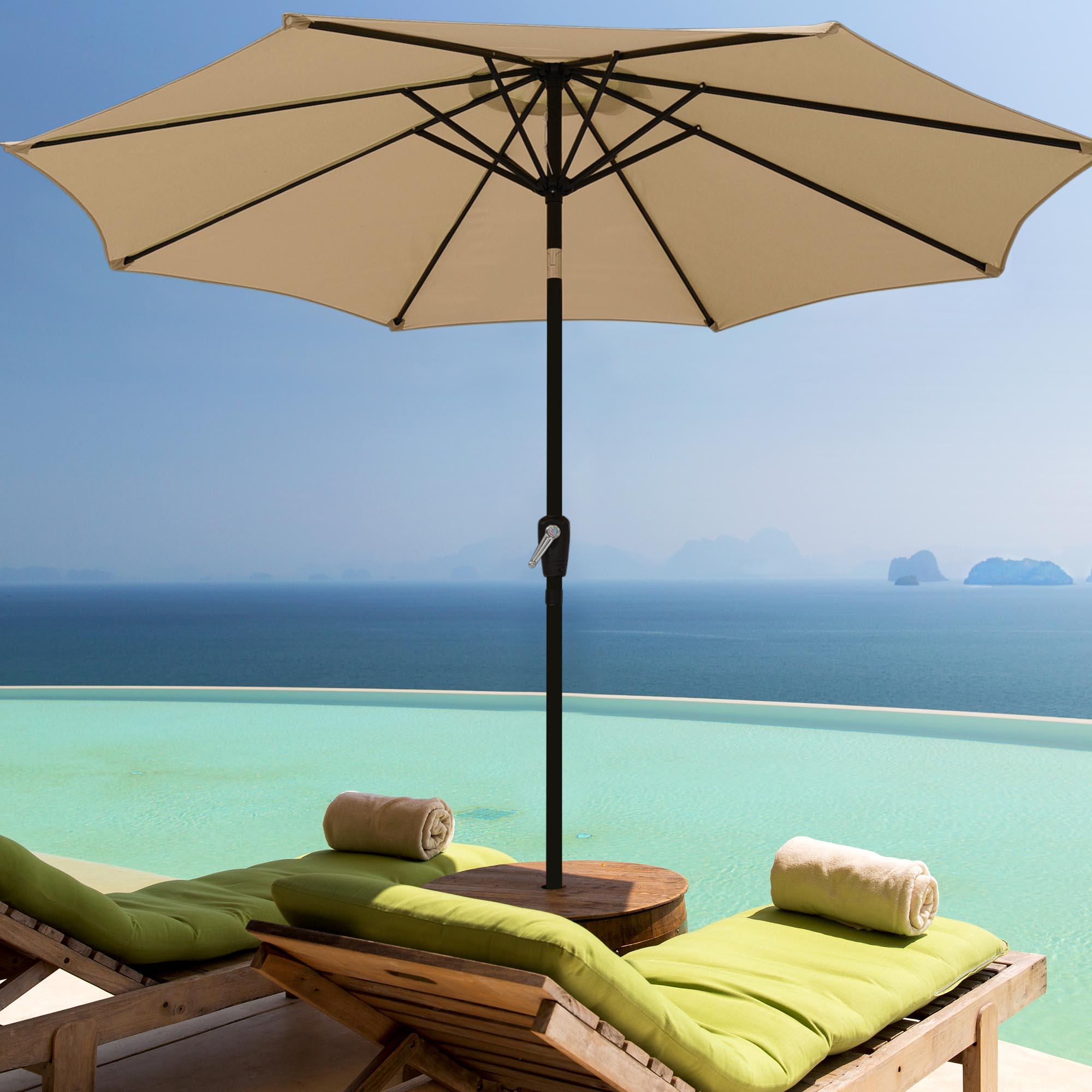 thumbnail 108 - 9' Outdoor Umbrella Patio 8 Ribs Market Garden Crank Tilt Beach Sunshade Parasol