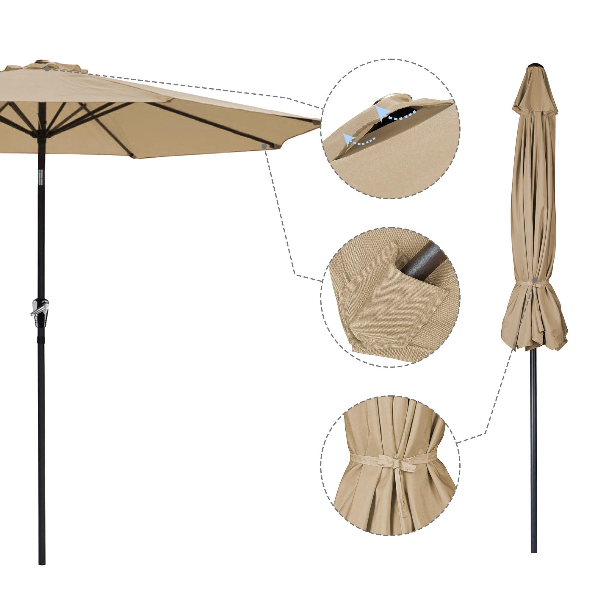 thumbnail 106 - 9' Outdoor Umbrella Patio 8 Ribs Market Garden Crank Tilt Beach Sunshade Parasol