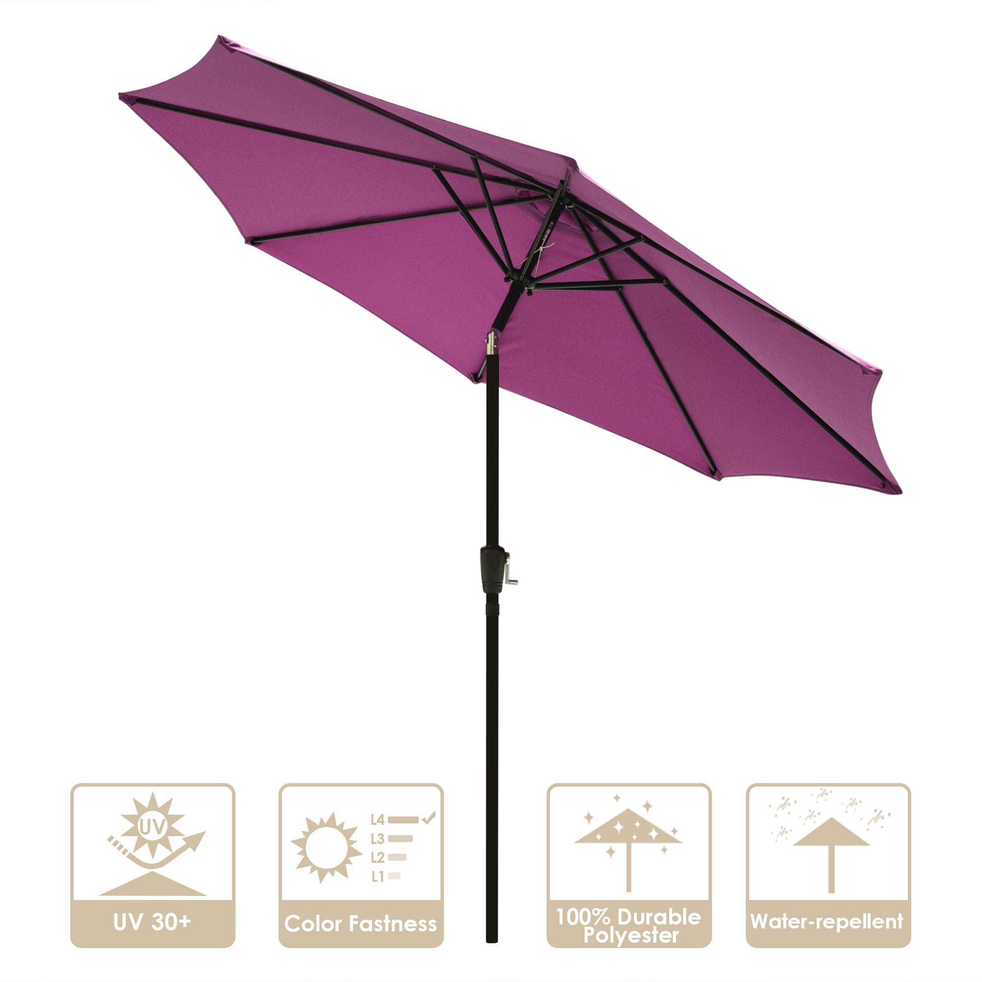 thumbnail 79 - 9' Outdoor Umbrella Patio 8 Ribs Market Garden Crank Tilt Beach Sunshade Parasol