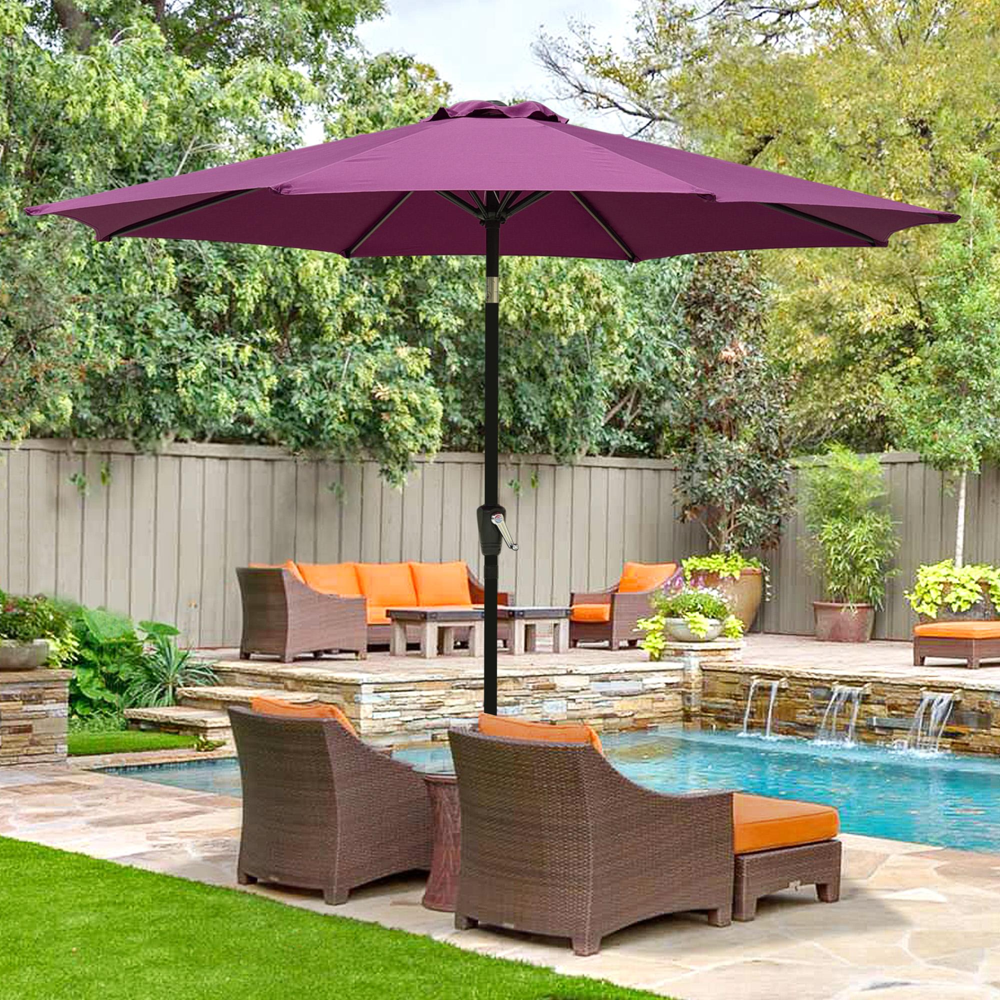 thumbnail 74 - 9' Outdoor Umbrella Patio 8 Ribs Market Garden Crank Tilt Beach Sunshade Parasol