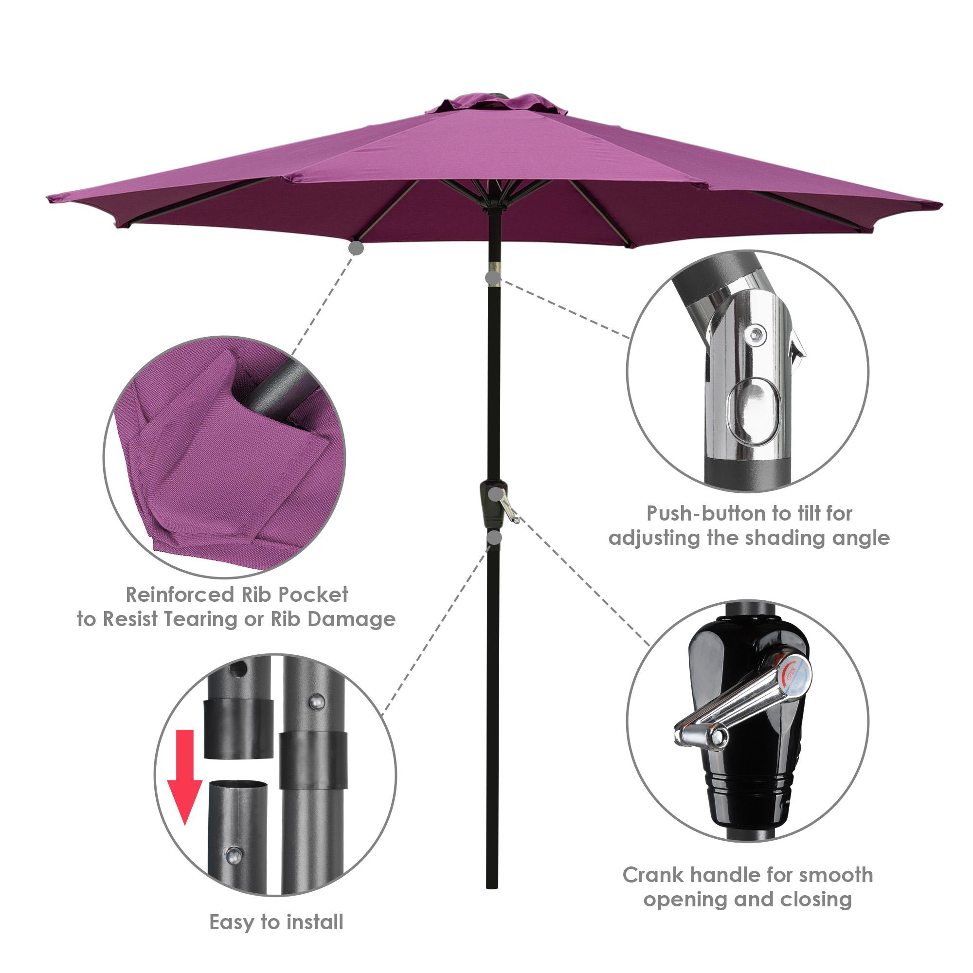 thumbnail 77 - 9' Outdoor Umbrella Patio 8 Ribs Market Garden Crank Tilt Beach Sunshade Parasol