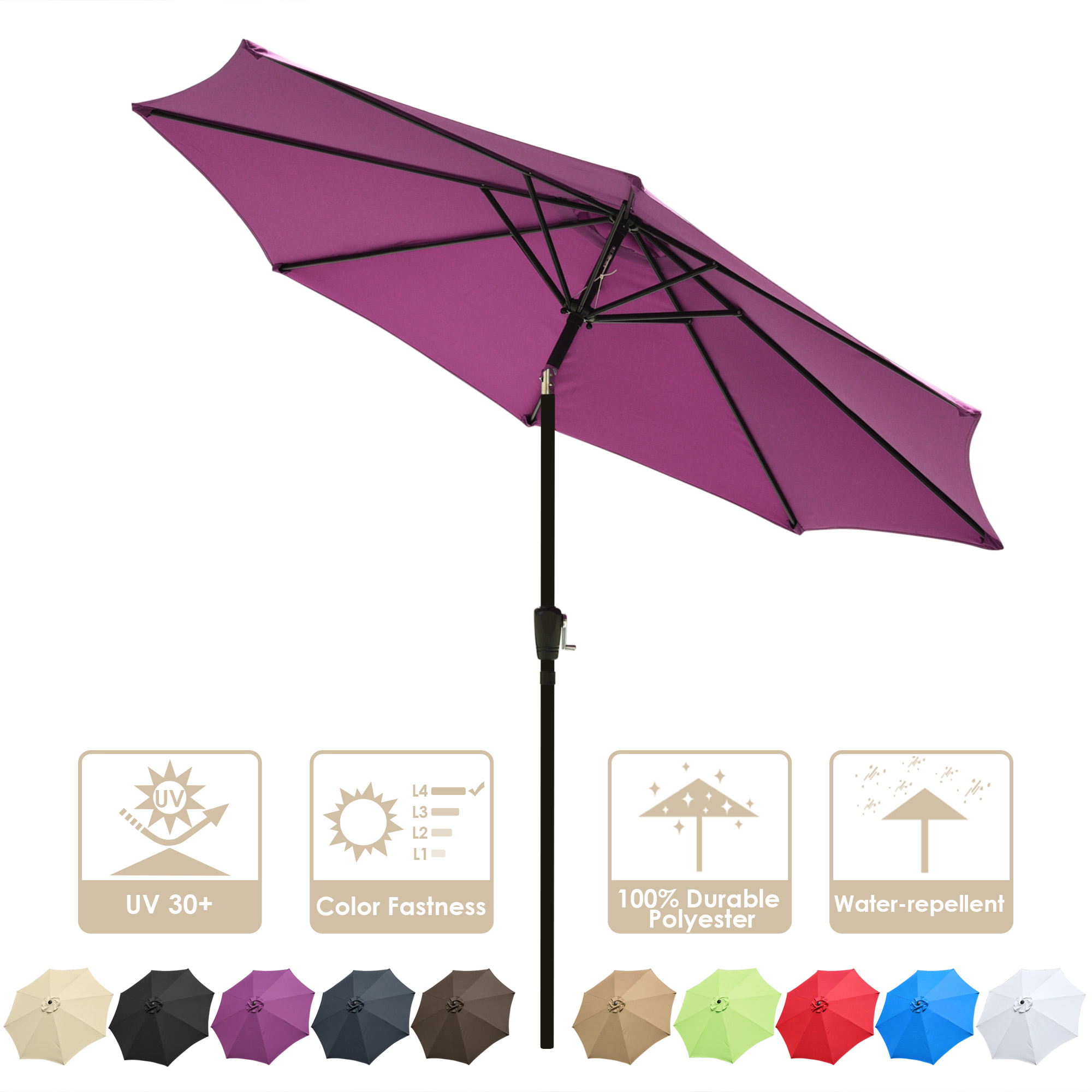 thumbnail 81 - 9' Outdoor Umbrella Patio 8 Ribs Market Garden Crank Tilt Beach Sunshade Parasol
