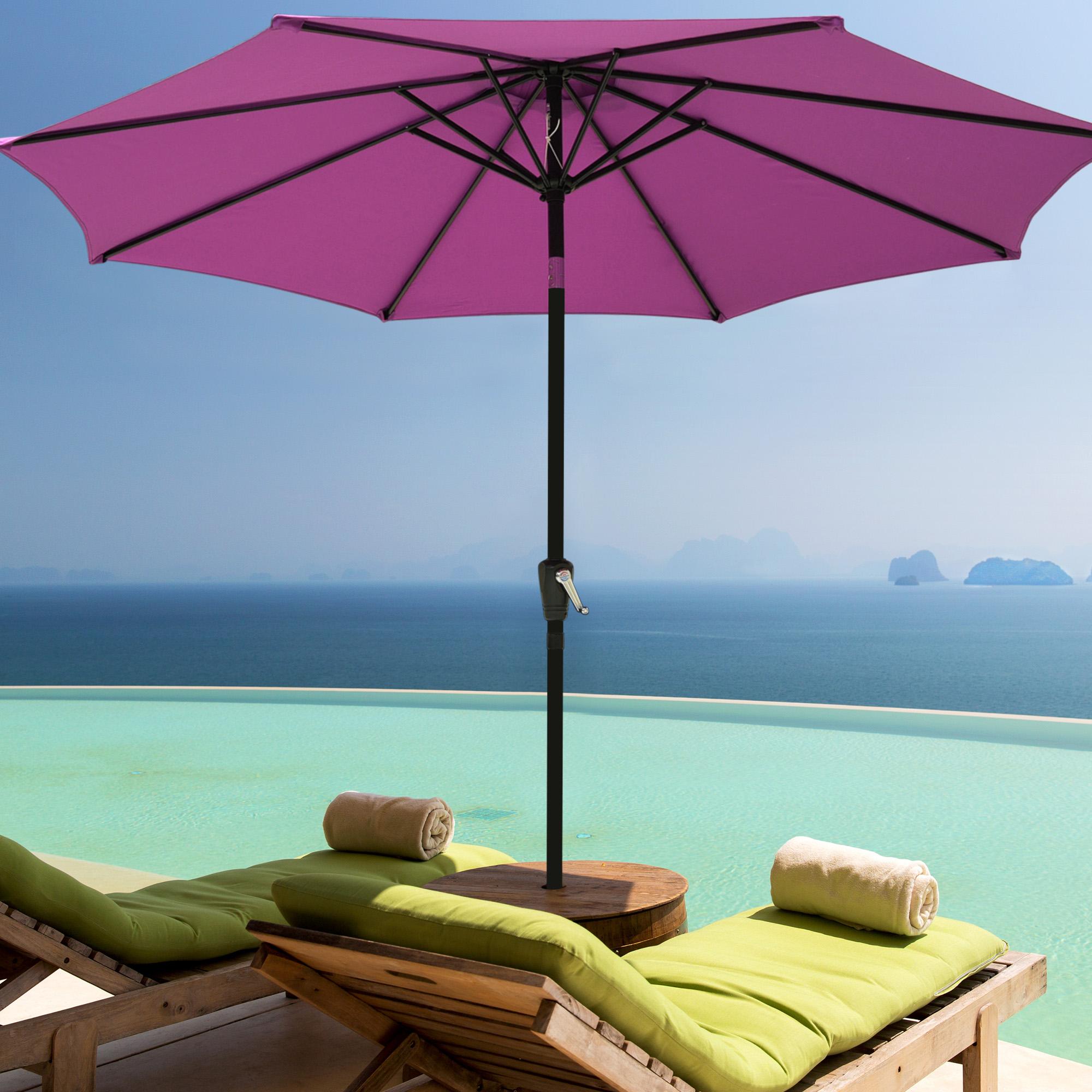 thumbnail 75 - 9' Outdoor Umbrella Patio 8 Ribs Market Garden Crank Tilt Beach Sunshade Parasol
