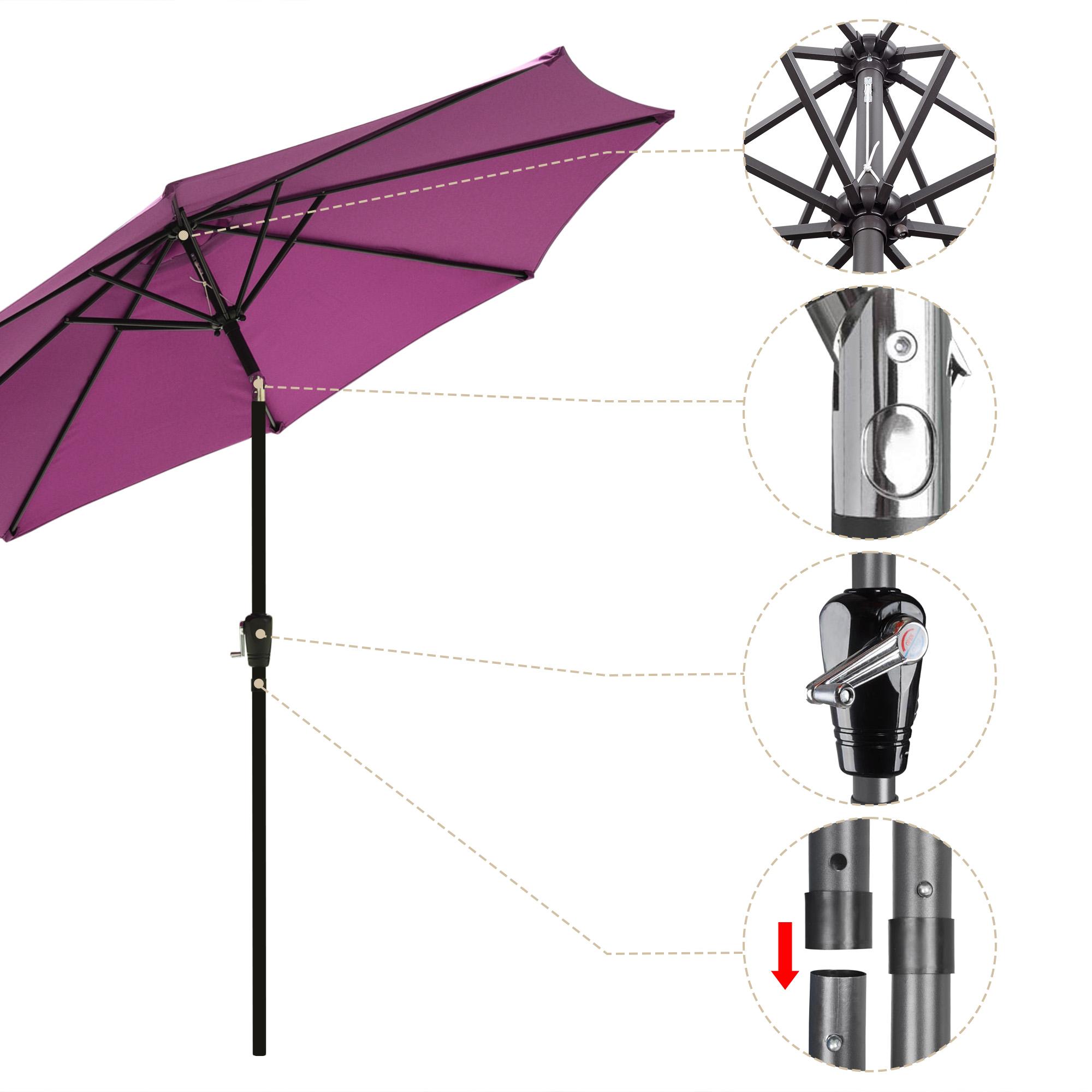 thumbnail 84 - 9' Outdoor Umbrella Patio 8 Ribs Market Garden Crank Tilt Beach Sunshade Parasol