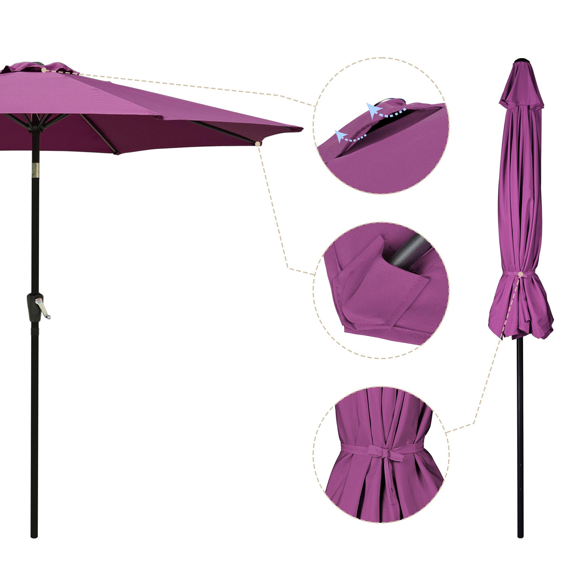 thumbnail 83 - 9' Outdoor Umbrella Patio 8 Ribs Market Garden Crank Tilt Beach Sunshade Parasol