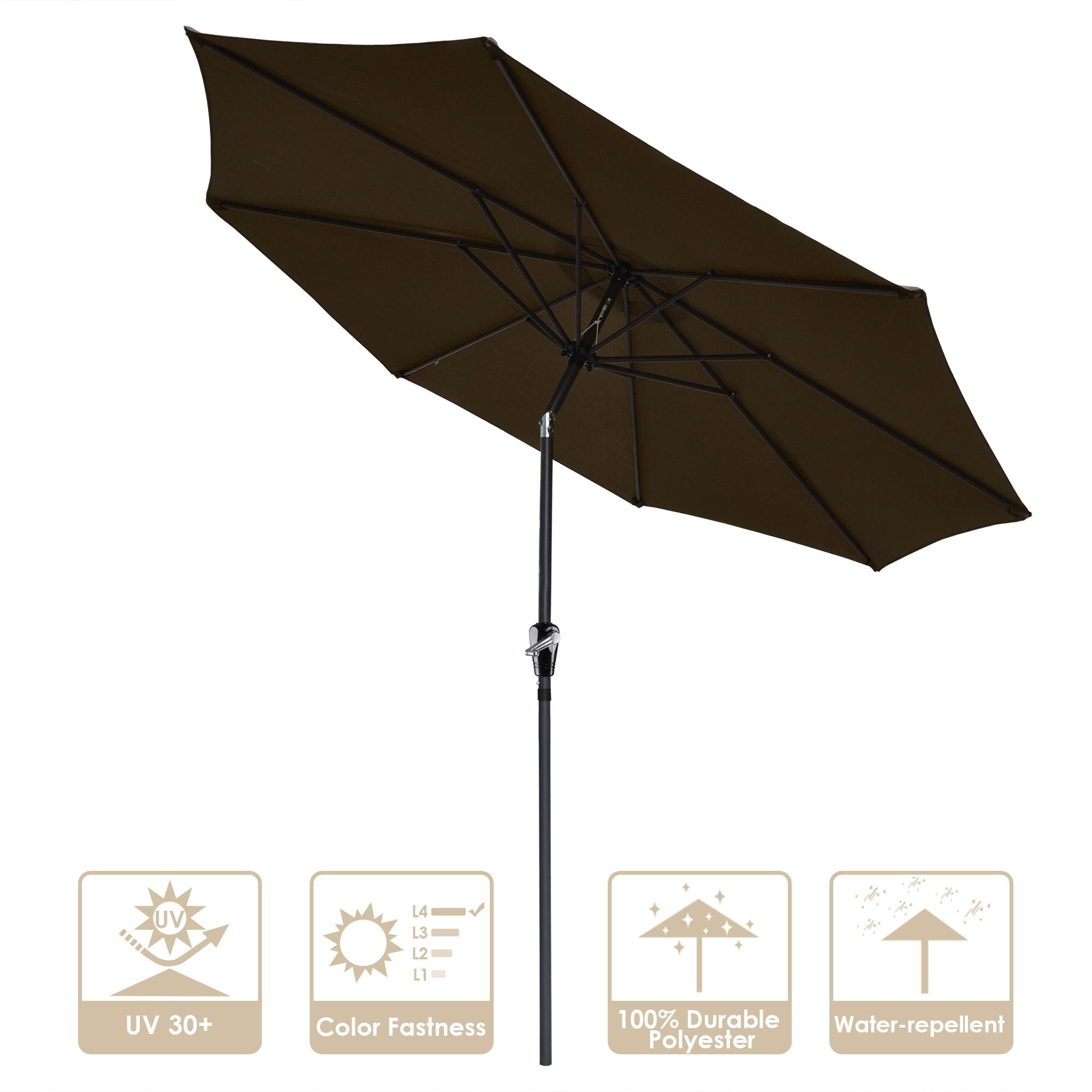 thumbnail 59 - 9' Outdoor Umbrella Patio 8 Ribs Market Garden Crank Tilt Beach Sunshade Parasol