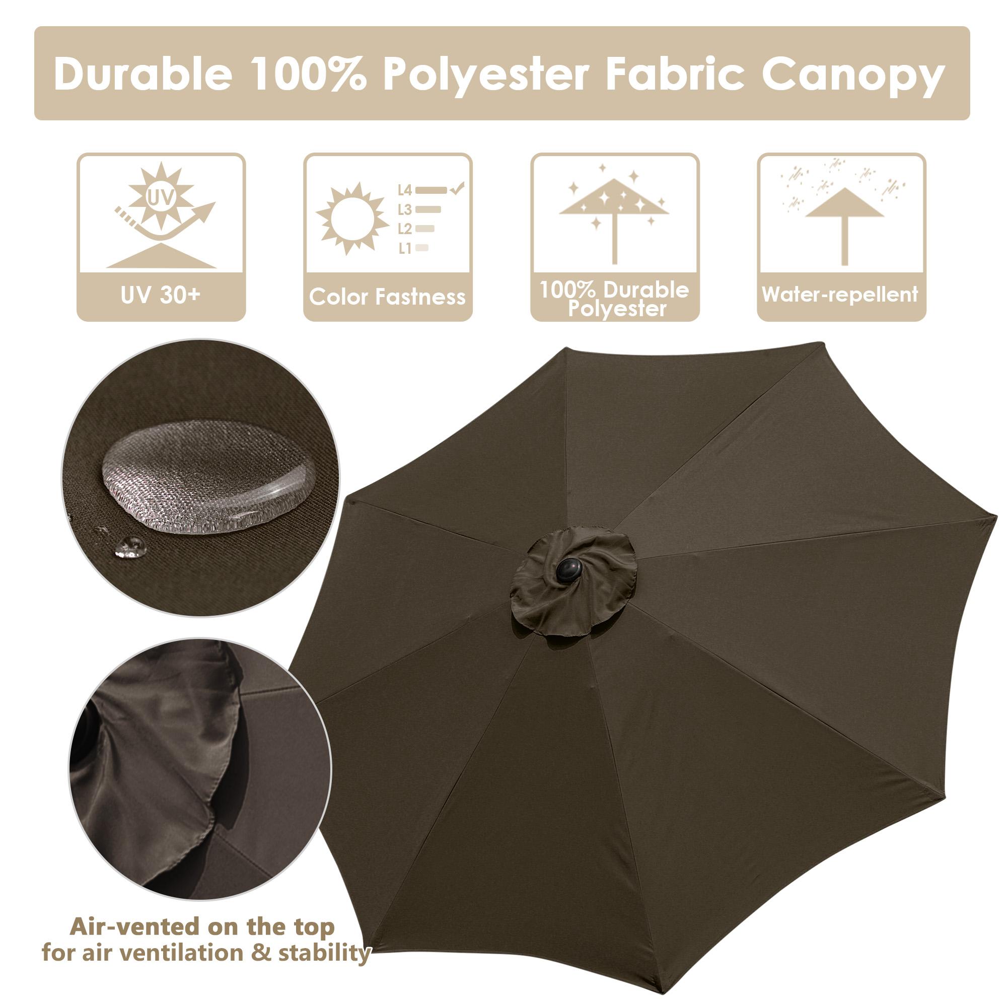 thumbnail 57 - 9' Outdoor Umbrella Patio 8 Ribs Market Garden Crank Tilt Beach Sunshade Parasol