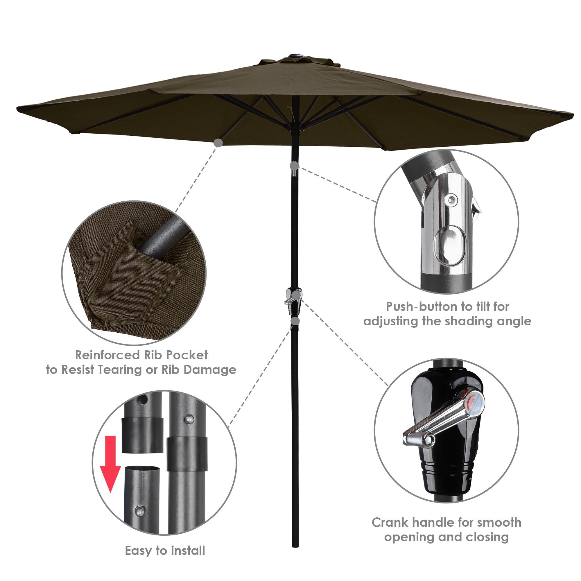 thumbnail 58 - 9' Outdoor Umbrella Patio 8 Ribs Market Garden Crank Tilt Beach Sunshade Parasol