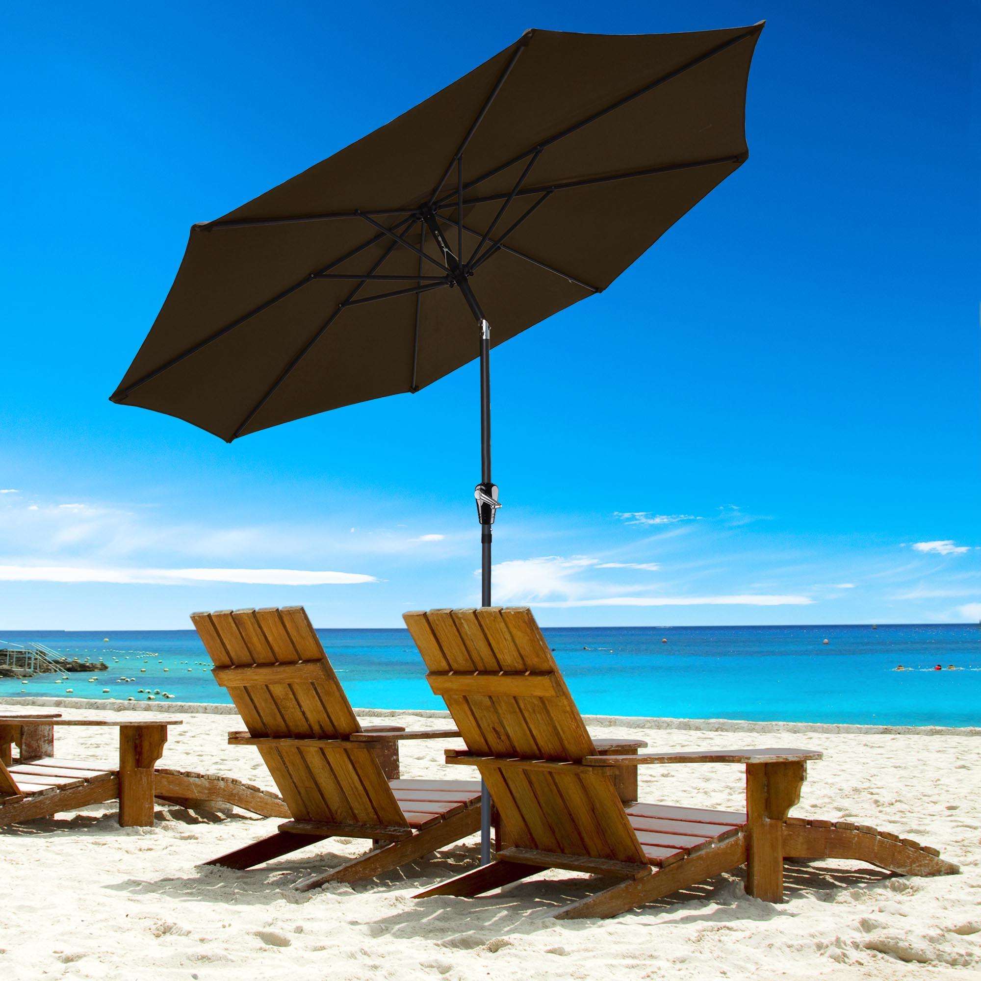 thumbnail 61 - 9' Outdoor Umbrella Patio 8 Ribs Market Garden Crank Tilt Beach Sunshade Parasol