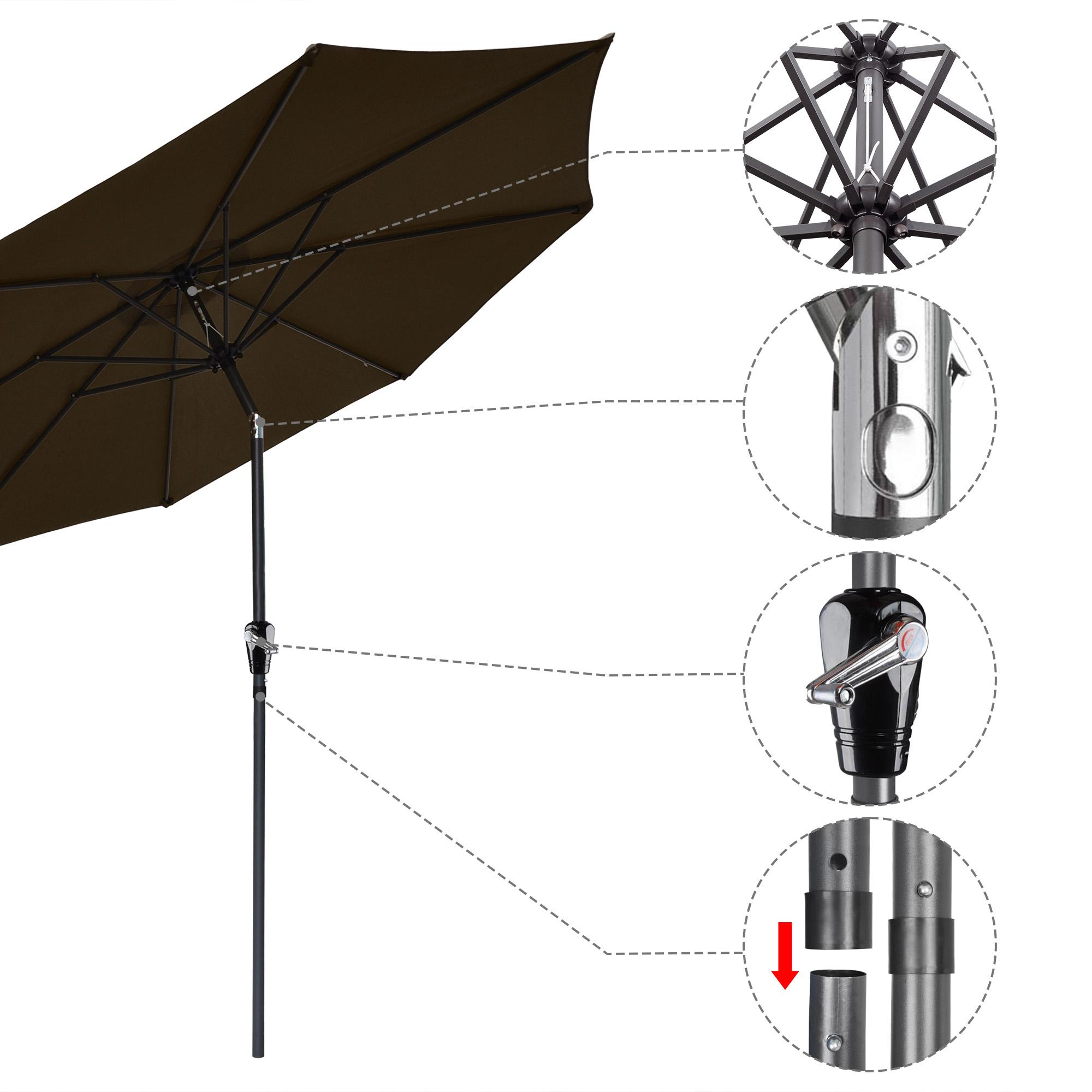 thumbnail 63 - 9' Outdoor Umbrella Patio 8 Ribs Market Garden Crank Tilt Beach Sunshade Parasol