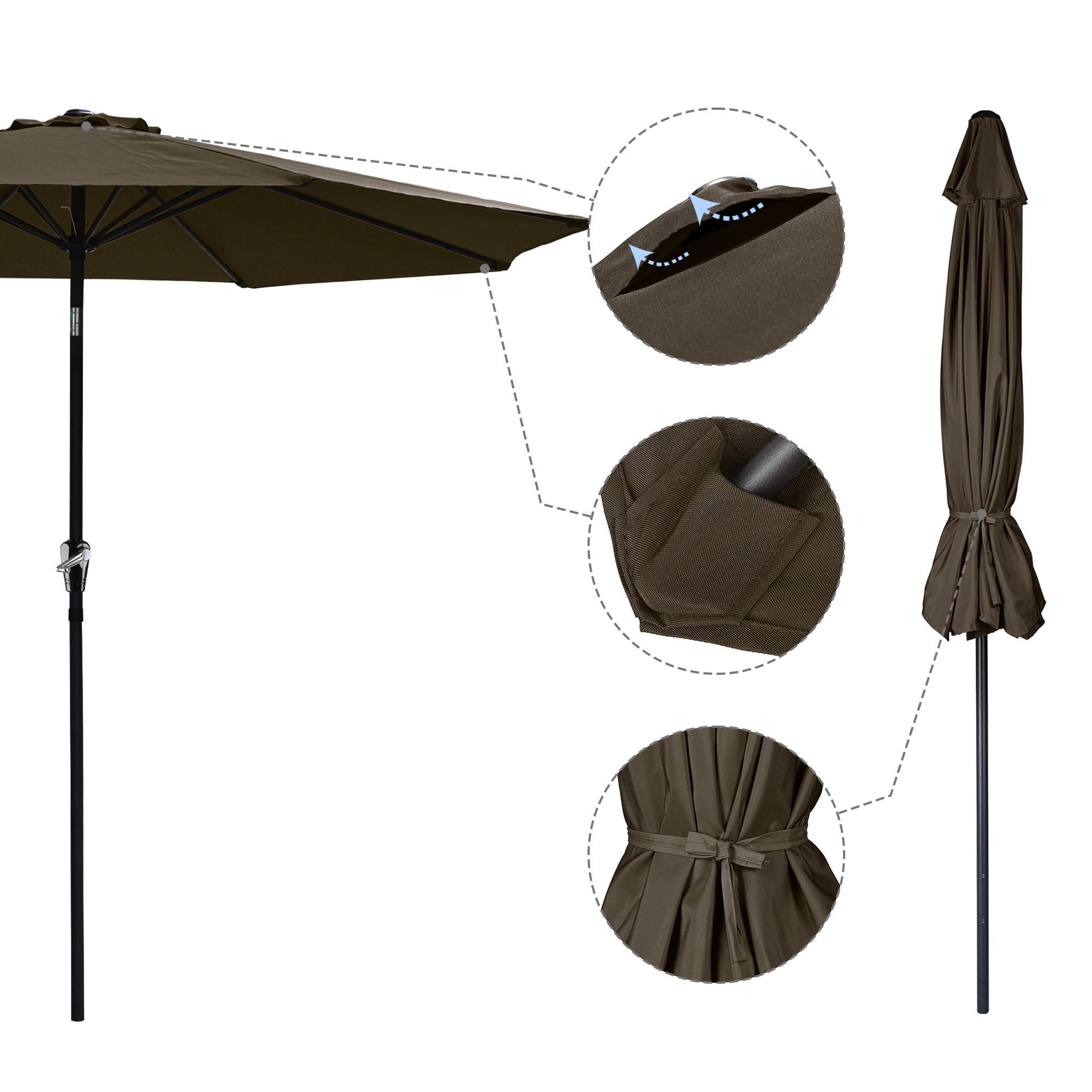 thumbnail 67 - 9' Outdoor Umbrella Patio 8 Ribs Market Garden Crank Tilt Beach Sunshade Parasol